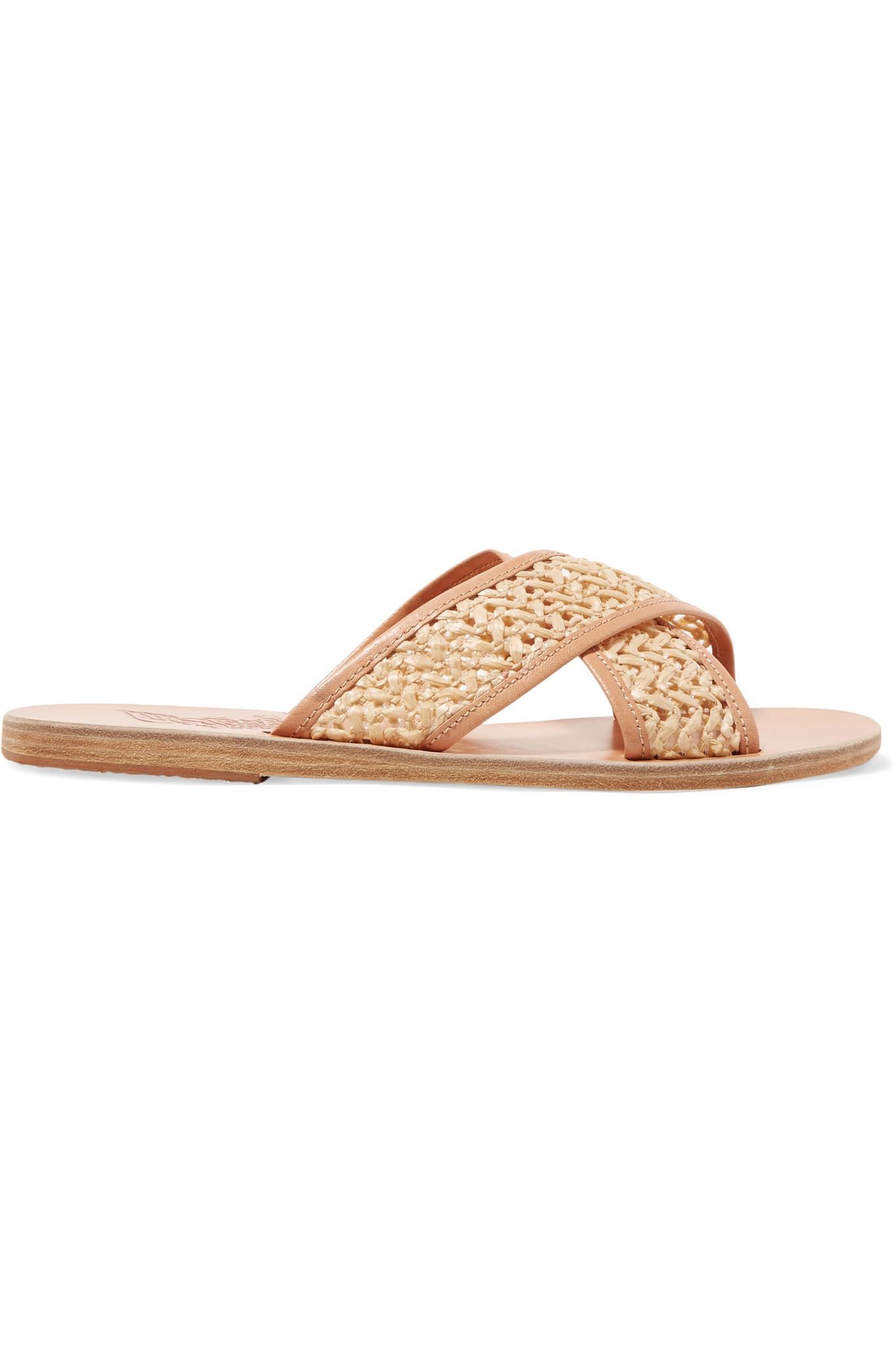 Thais Polka-dot Matte-satin Slides - White Ancient Greek Sandals 5cJcvMlmJG