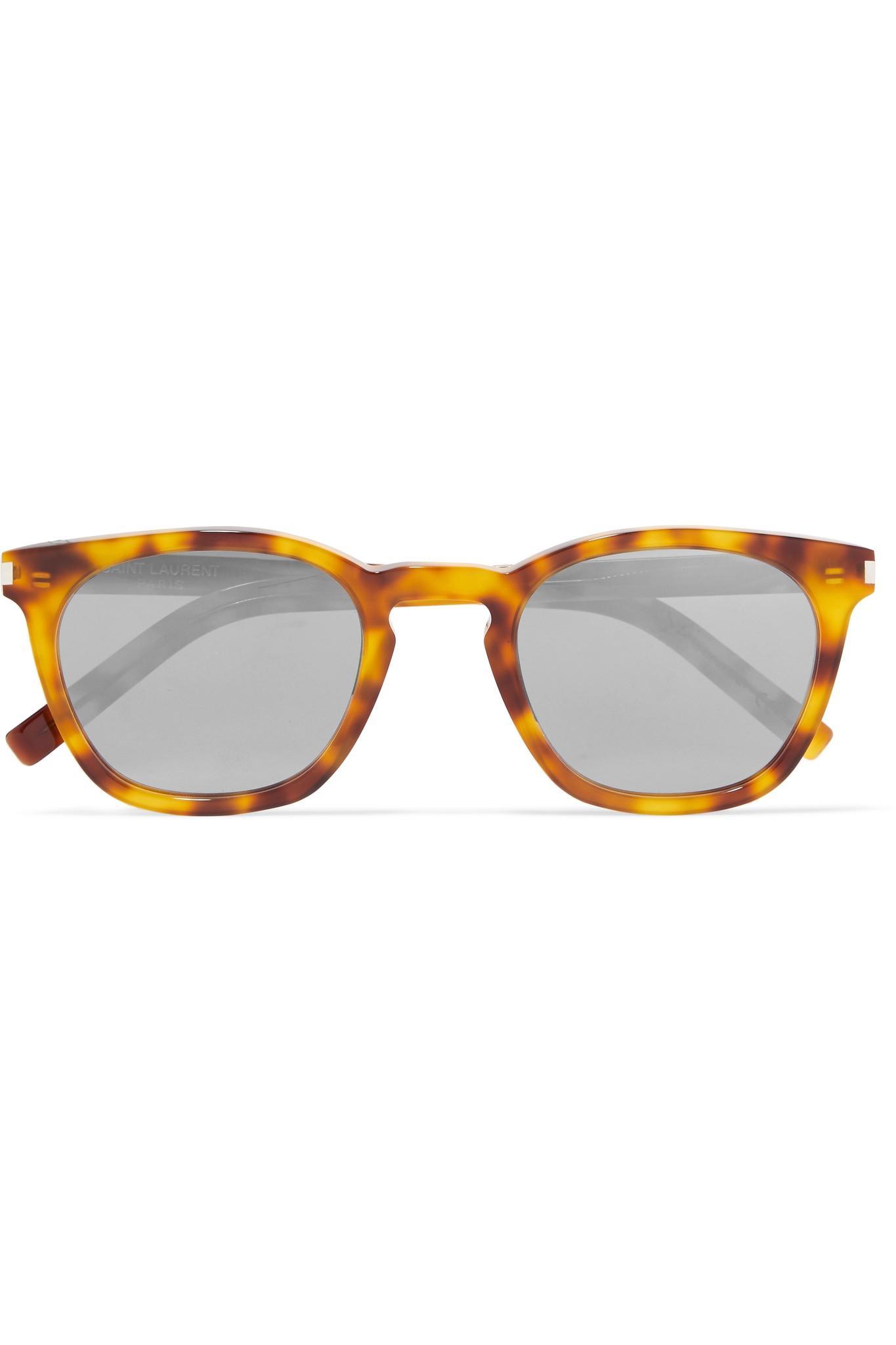 1a2373c2033 Saint Laurent. Women s Brown Cat-eye Tortoiseshell Acetate Mirrored  Sunglasses
