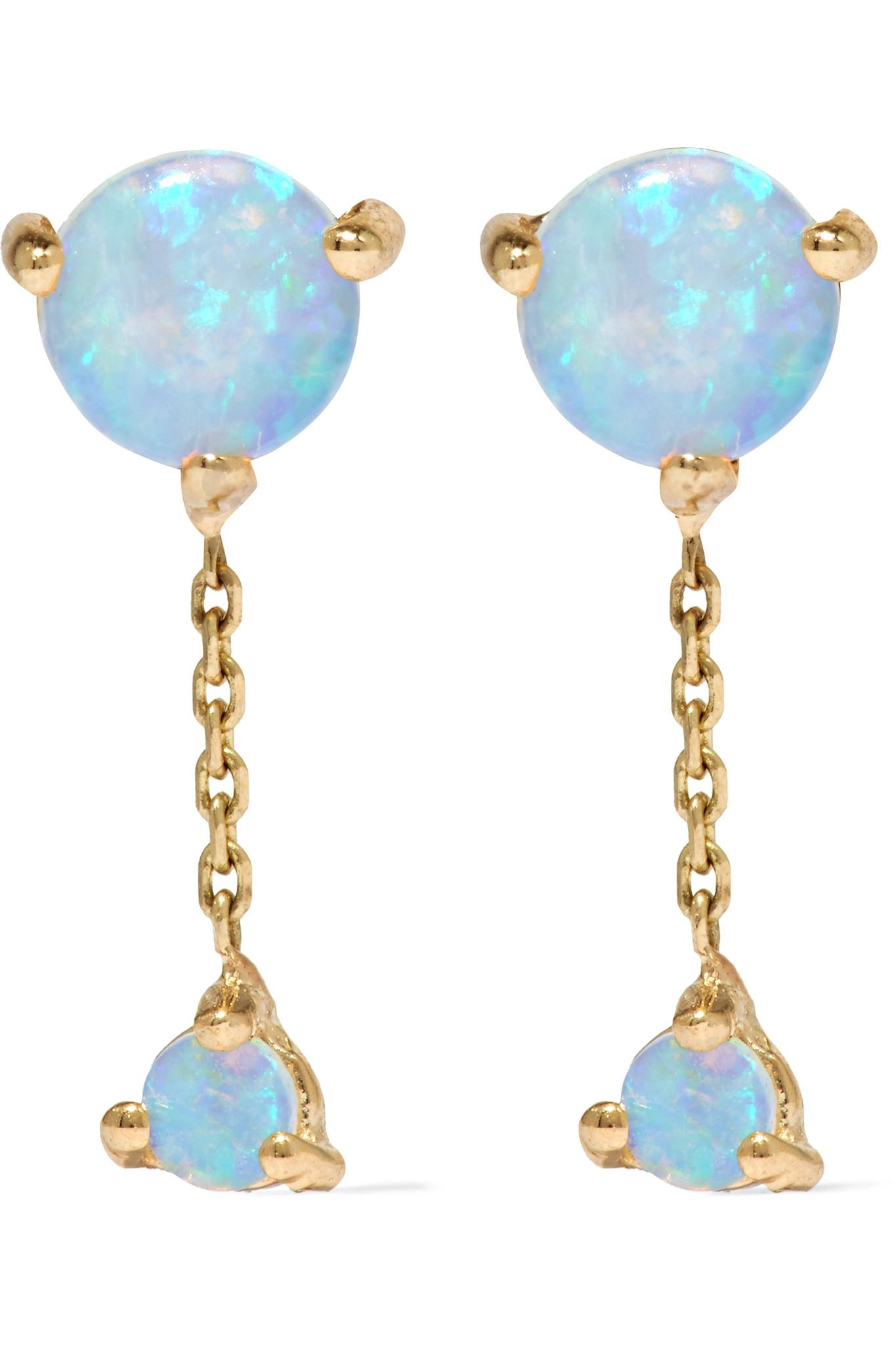 Two Step 14-karat Gold Opal Earrings - Blue Wwake fh62zt4yWN