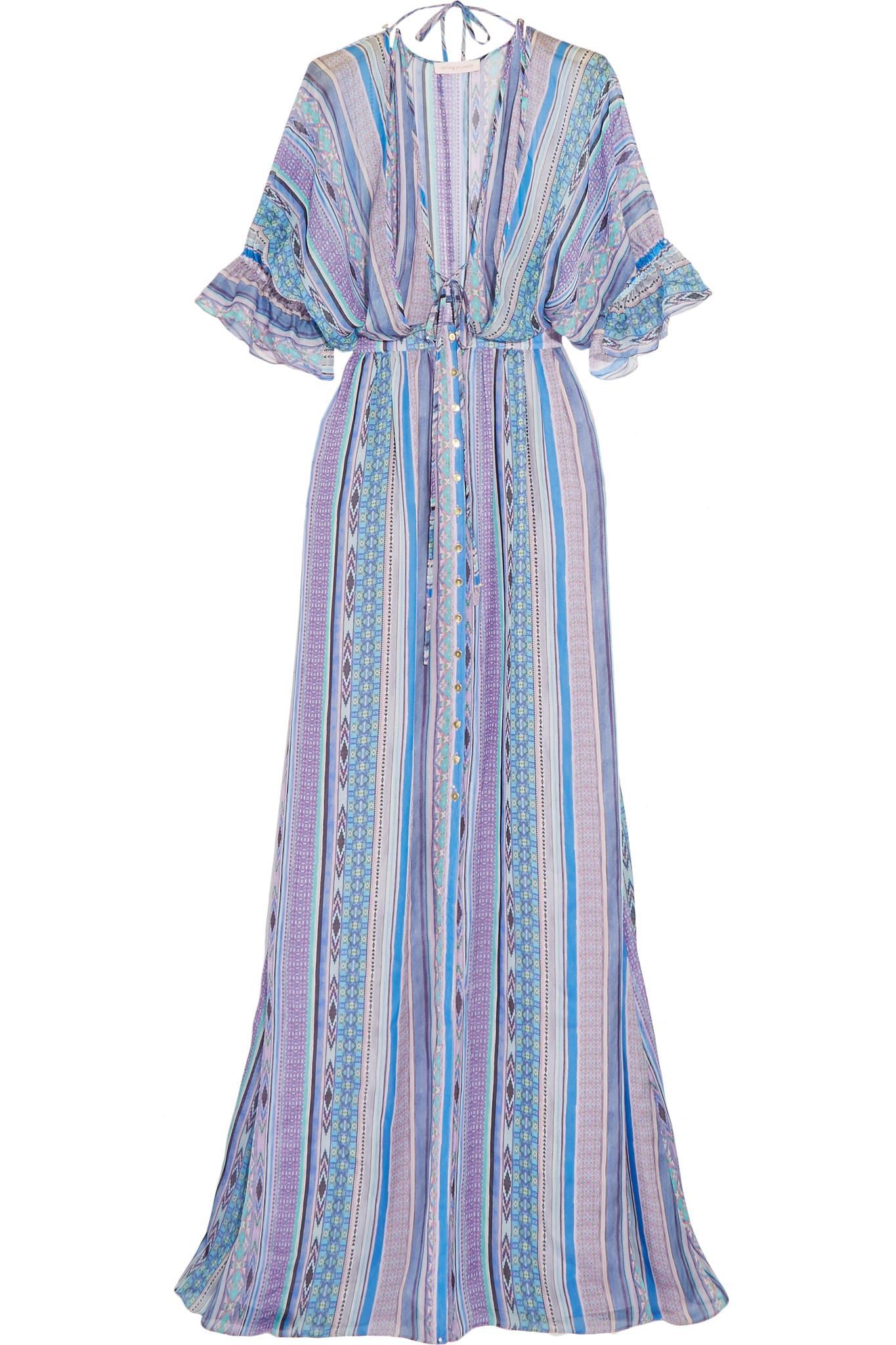 Saya Stripe Silk-chiffon Maxi Dress - Blue Matthew Williamson Popular Online PzDTlJ9jg9