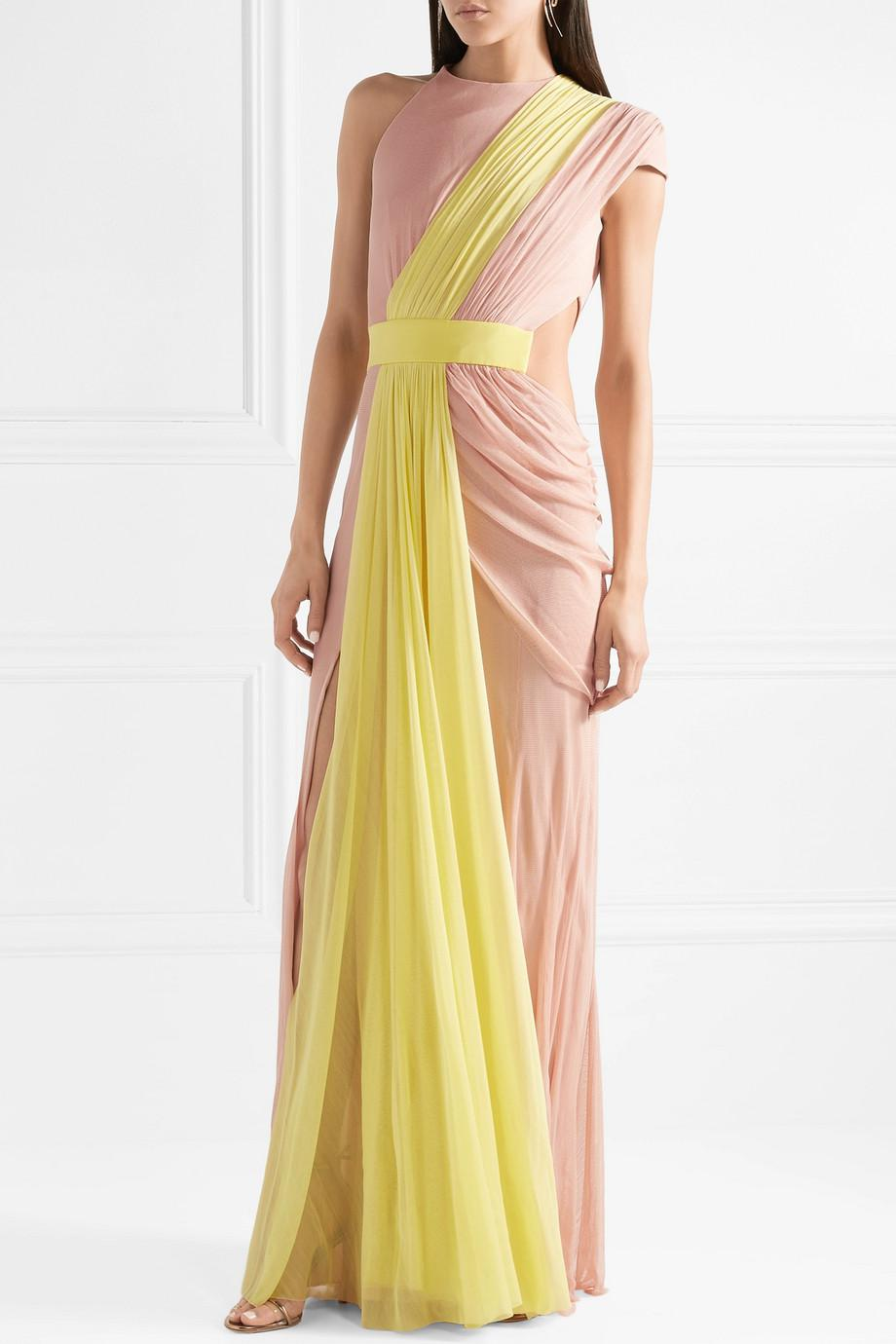One-shoulder Draped Two-tone Silk-tulle Gown - Yellow Cushnie et Ochs QvYdCnb3