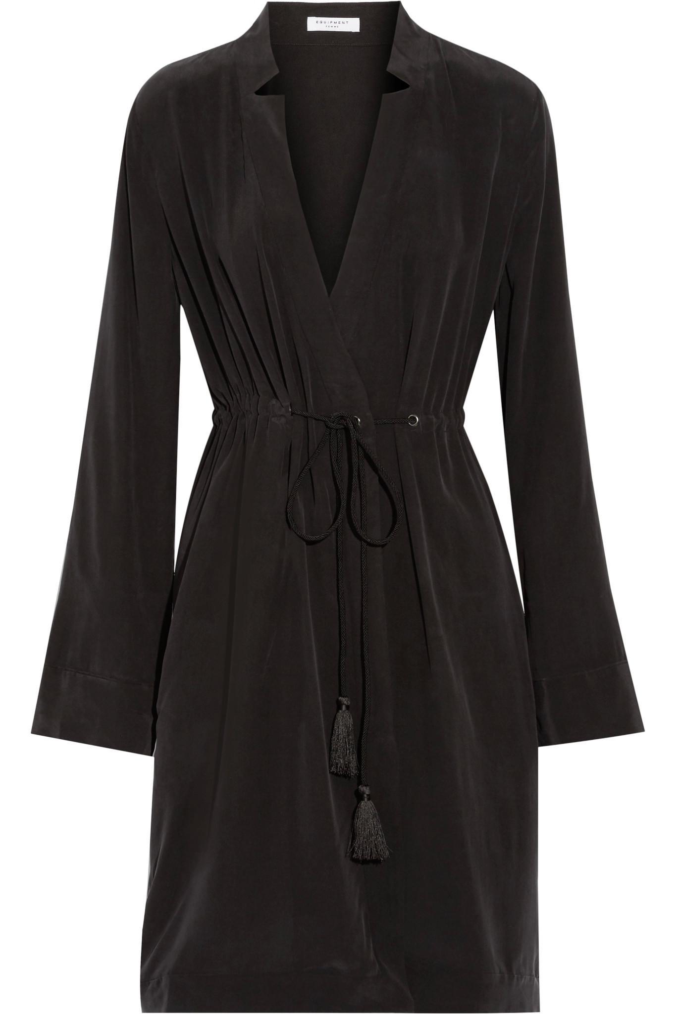 Stacy Washed-silk Wrap Dress - Black Equipment GKeIGAJtP