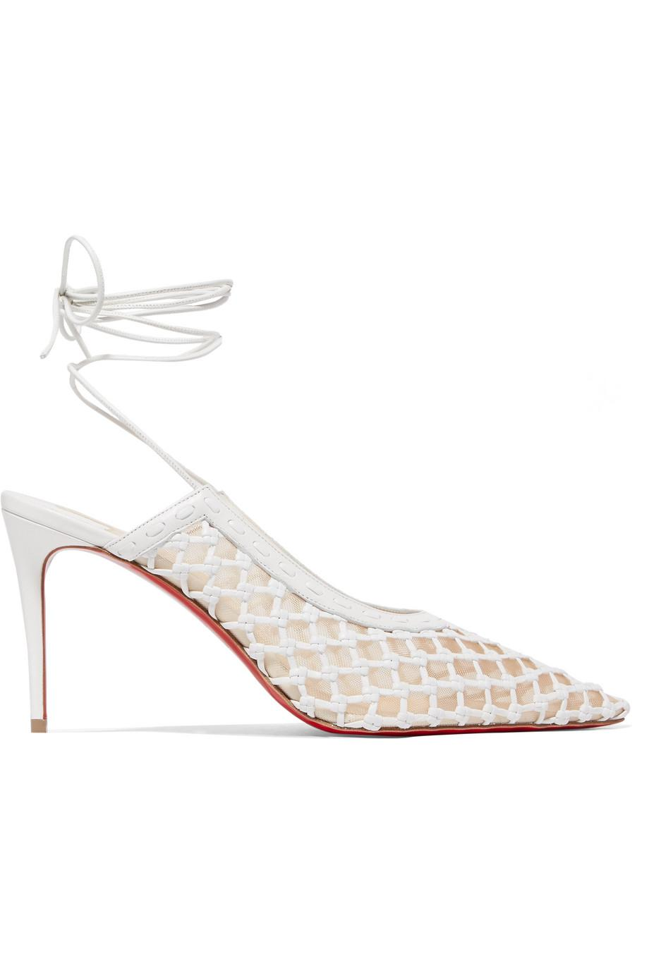 + Roland Mouret Cage And Curry Mesh And Woven Leather Pumps - Black Christian Louboutin FVRmBf