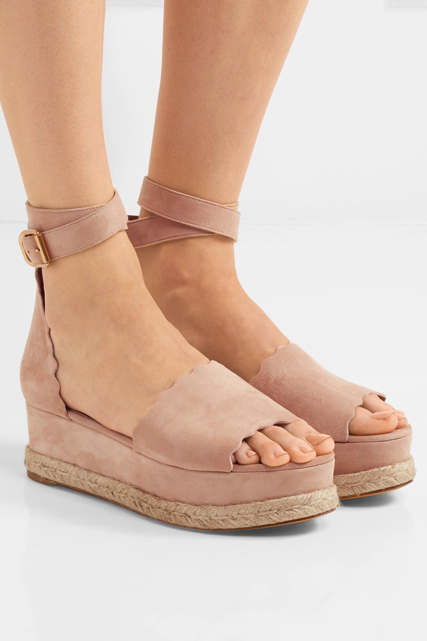 1ec5e469a3a Lyst - Chloé Lauren Suede Espadrille Platform Sandals