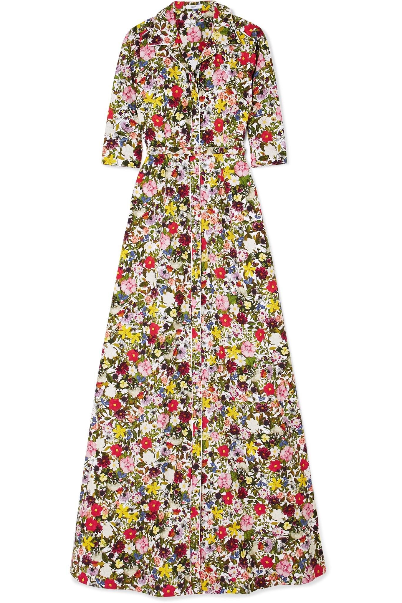 Karissa Floral-print Cotton-poplin Gown - Yellow Erdem HQ5MyV