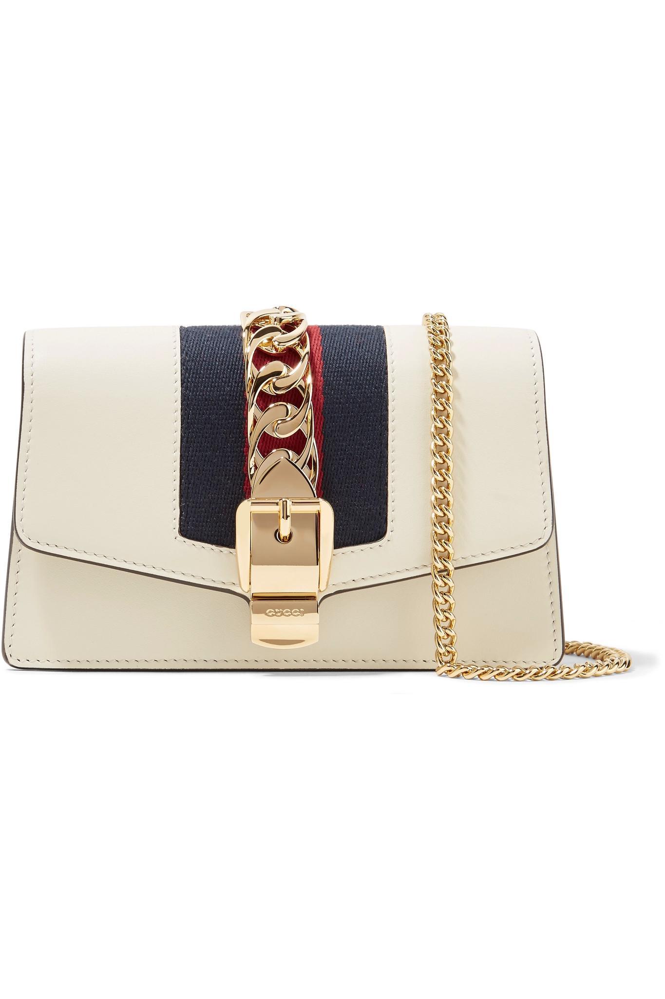 Sylvie Mini Chain-embellished Leather Shoulder Bag - White Gucci 5vbH3q0A4