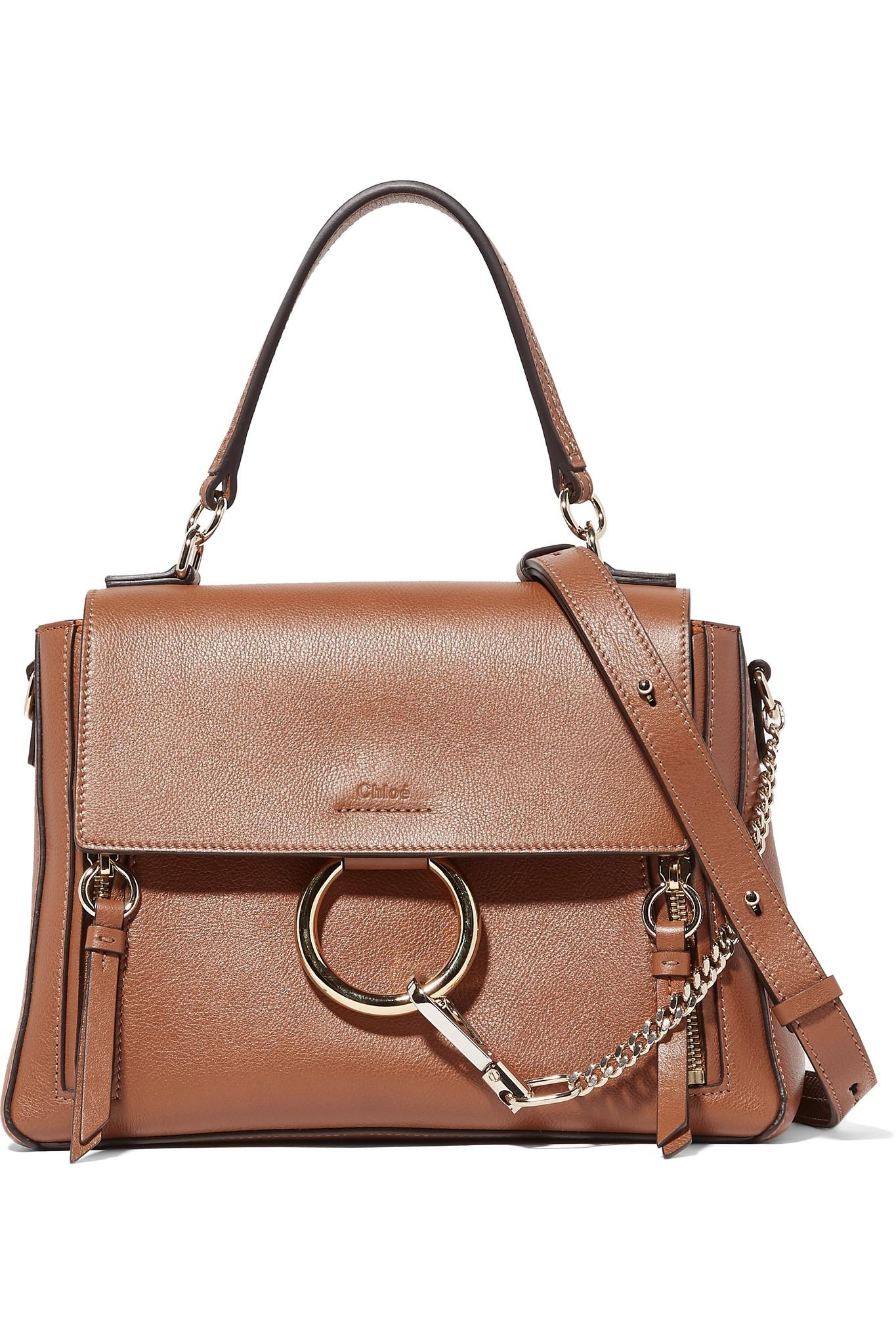 Lyst - Chloé Faye Day Large Textured-leather Shoulder Bag in Brown ... 883bdeeb39911