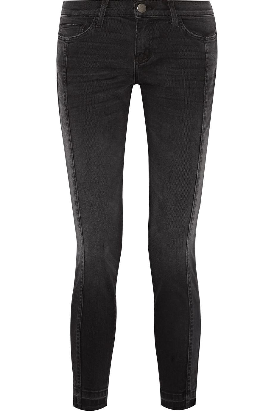 The Seamed Easy Stiletto Mid-rise Stretch-denim Skinny Jeans - Black Current Elliott 1REmJ77l