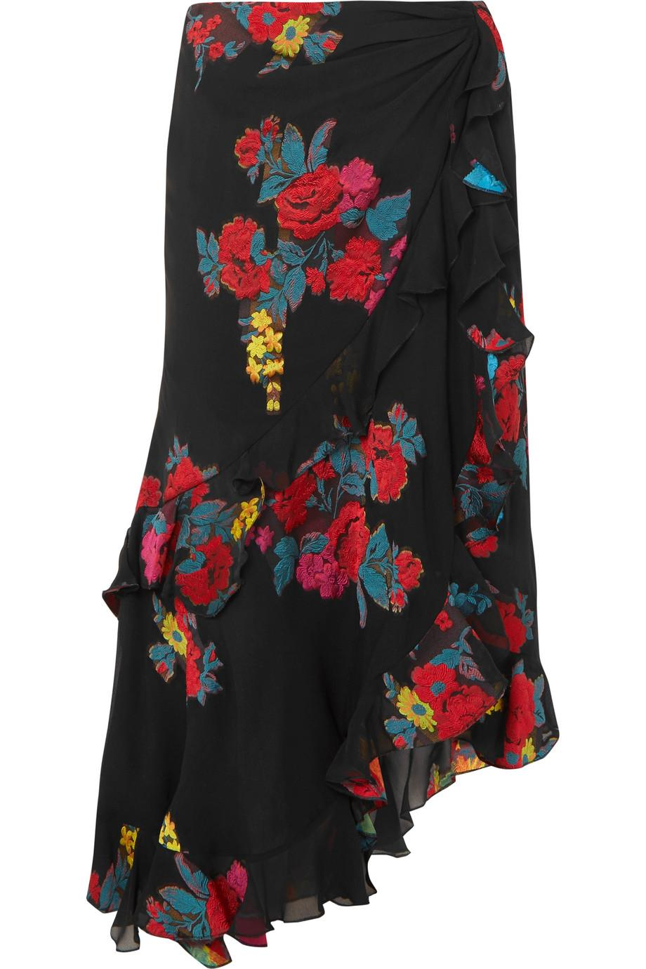 Free Shipping Low Shipping Ruffled Fil Coupé Silk-blend Skirt - Black Etro Cheap Pay With Paypal Footlocker Pictures Online For Sale Footlocker From China Online 0NQyOCWX2a