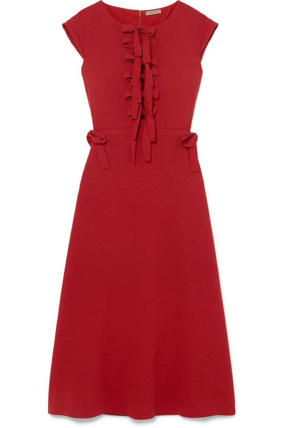 Bow-detailed Crepe Midi Dress - Red Bottega Veneta Amazing Price For Sale 4eyUu