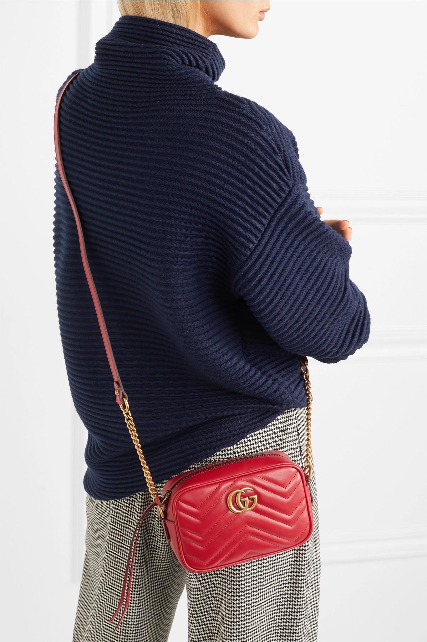 7765b7a43 Gucci Gg Marmont Camera Mini Quilted Leather Shoulder Bag in Red - Lyst