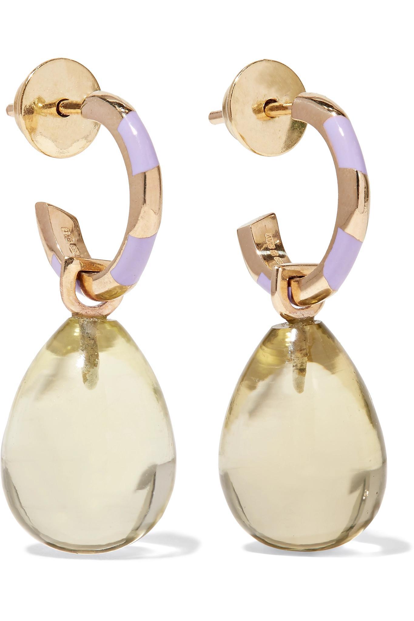 Alice Cicolini 14-karat Gold, Quartz And Enamel Earrings