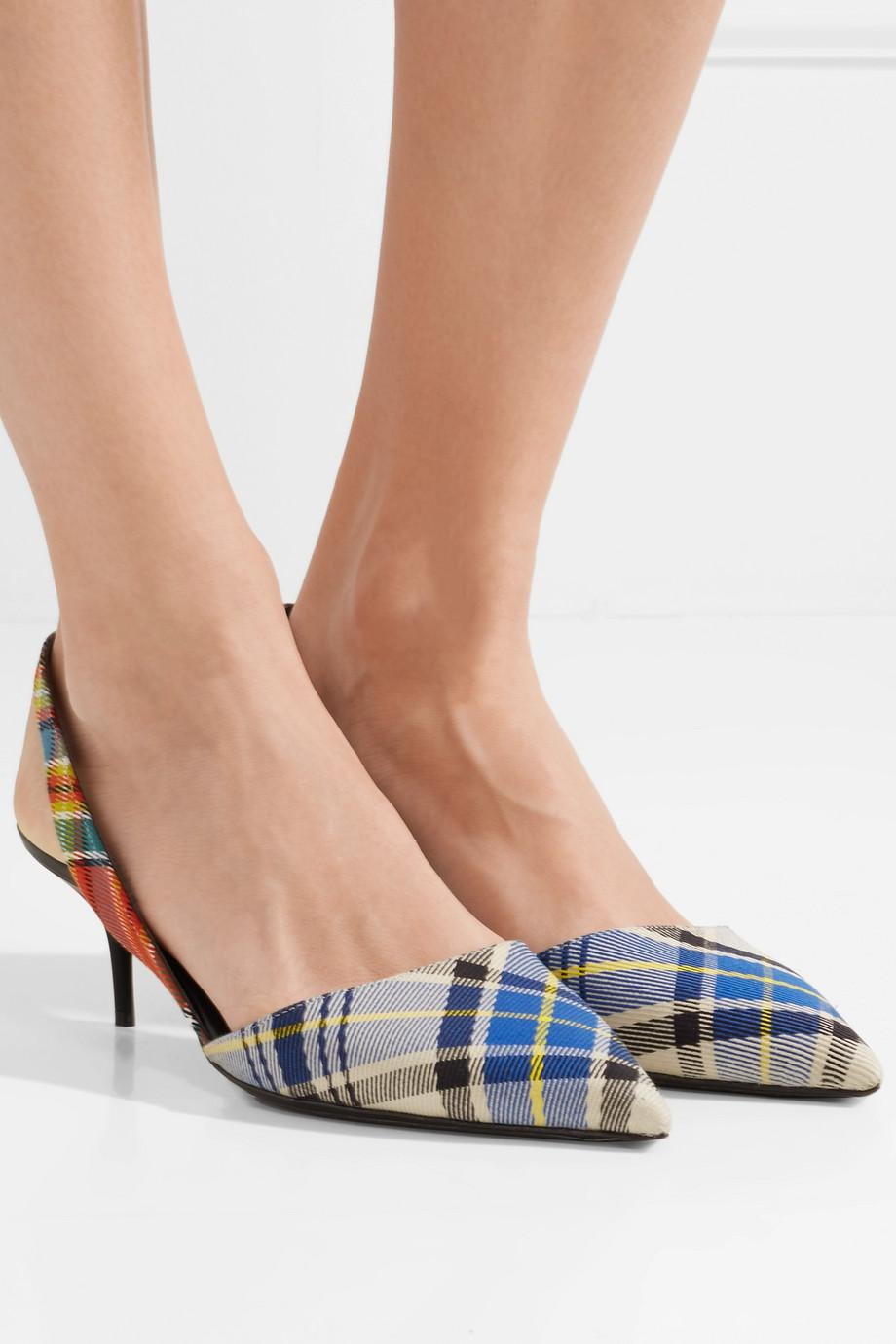 Leather-trimmed Checked Twill Slingback Pumps - Blue Burberry 8HUu1nYTg0