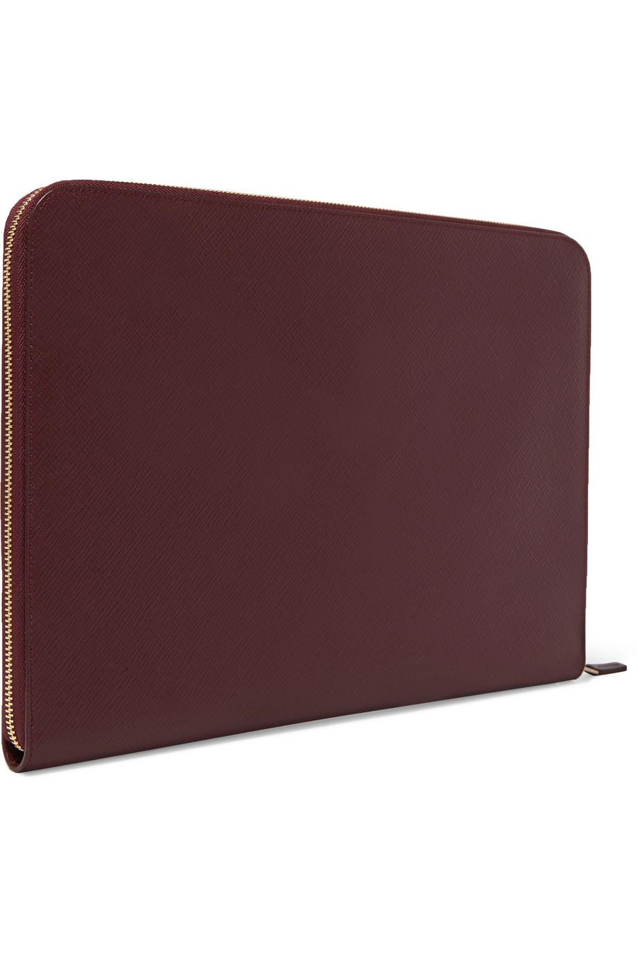 Panama Textured-leather 13 Laptop Case - Burgundy Smythson ly820