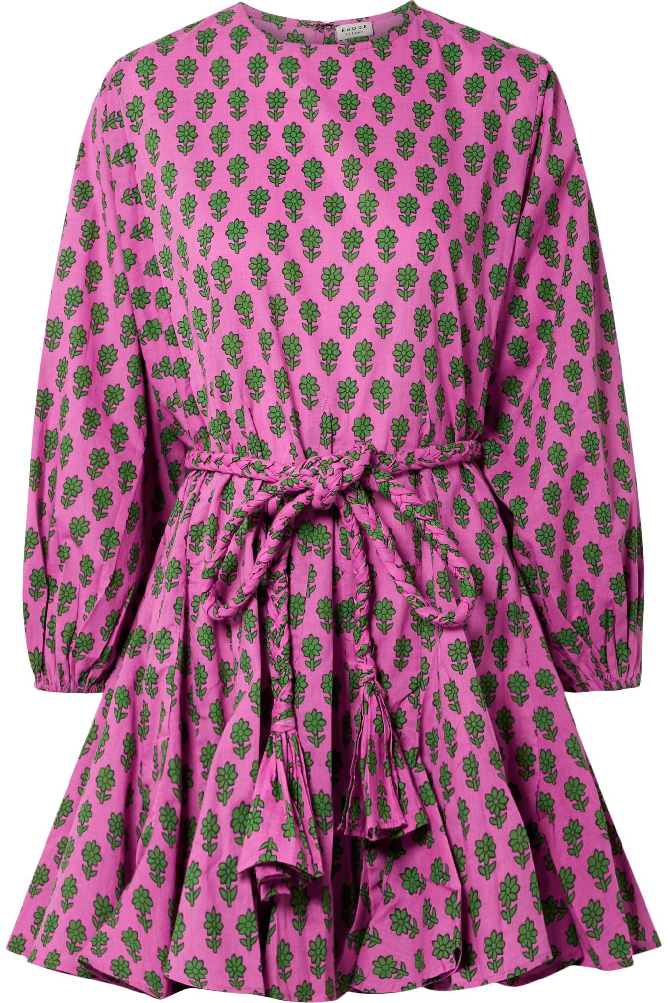 e595bf2b7 Rhode Resort Ella Belted Printed Cotton Mini Dress in Pink - Lyst