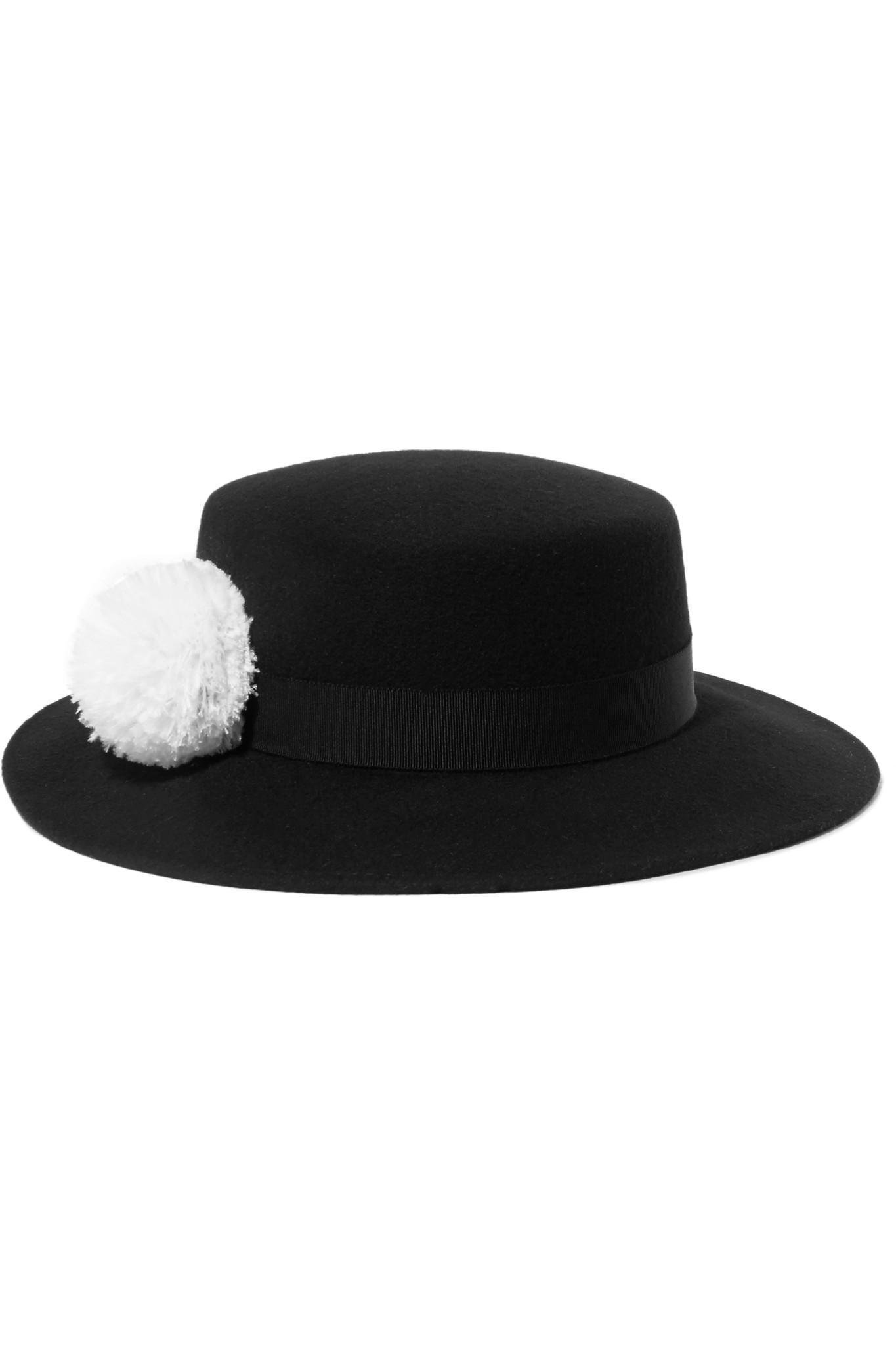 d896c9fa359 Eugenia Kim Brigitte Feather-trimmed Wool-felt Hat in Black - Lyst