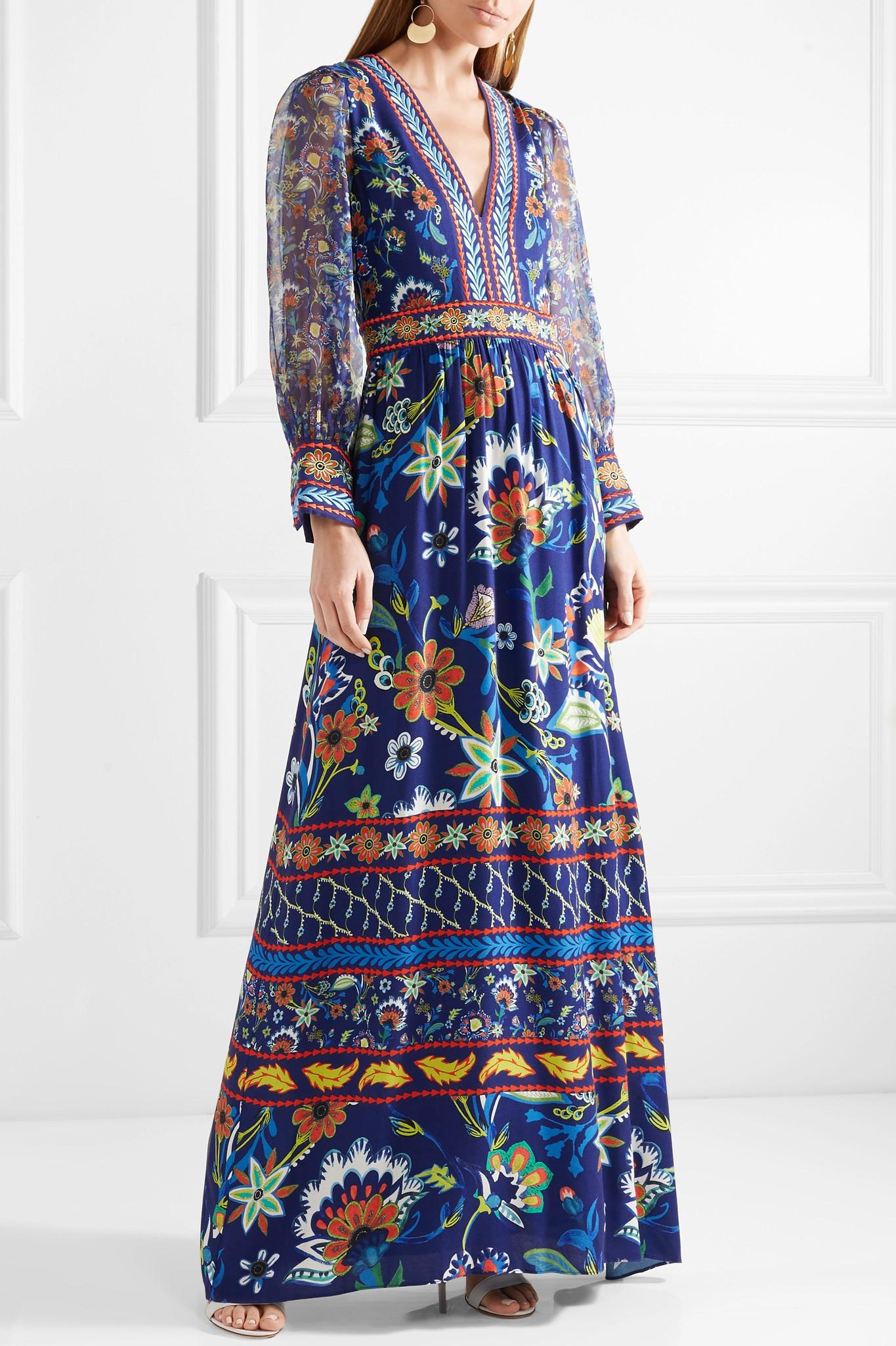 284514327c04a Alice + Olivia Jaida Embroidered Crepe And Silk-chiffon Maxi Dress ...