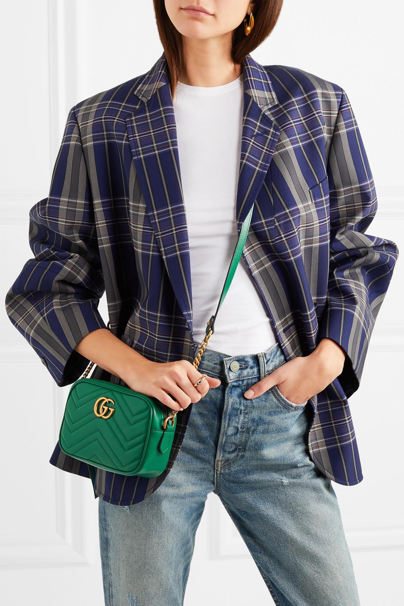 1297b438ef779d Gucci Gg Marmont Camera Mini Quilted Leather Shoulder Bag in Green ...