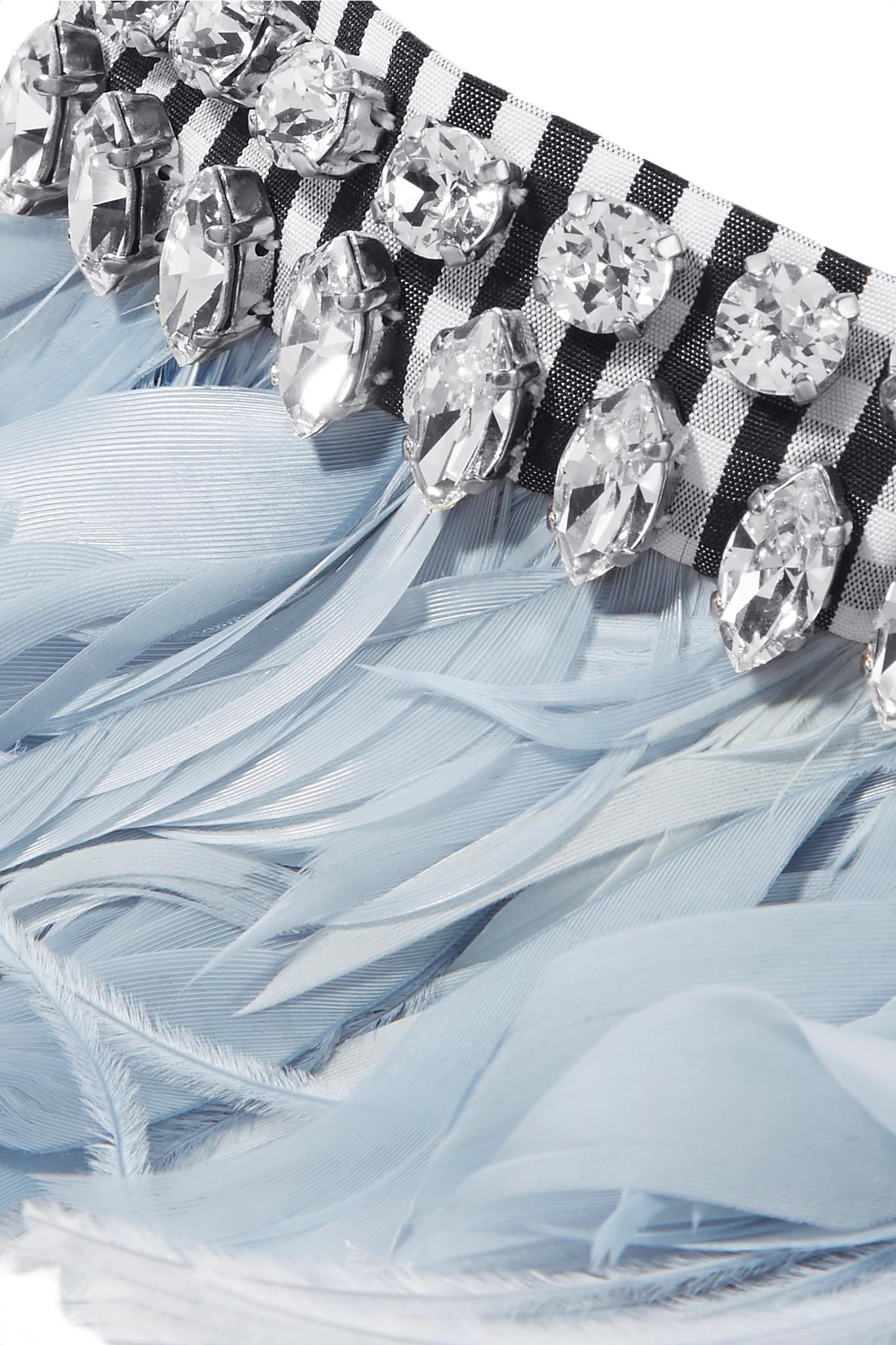 Gingham Cotton, Feather And Crystal Choker - Light blue Miu Miu