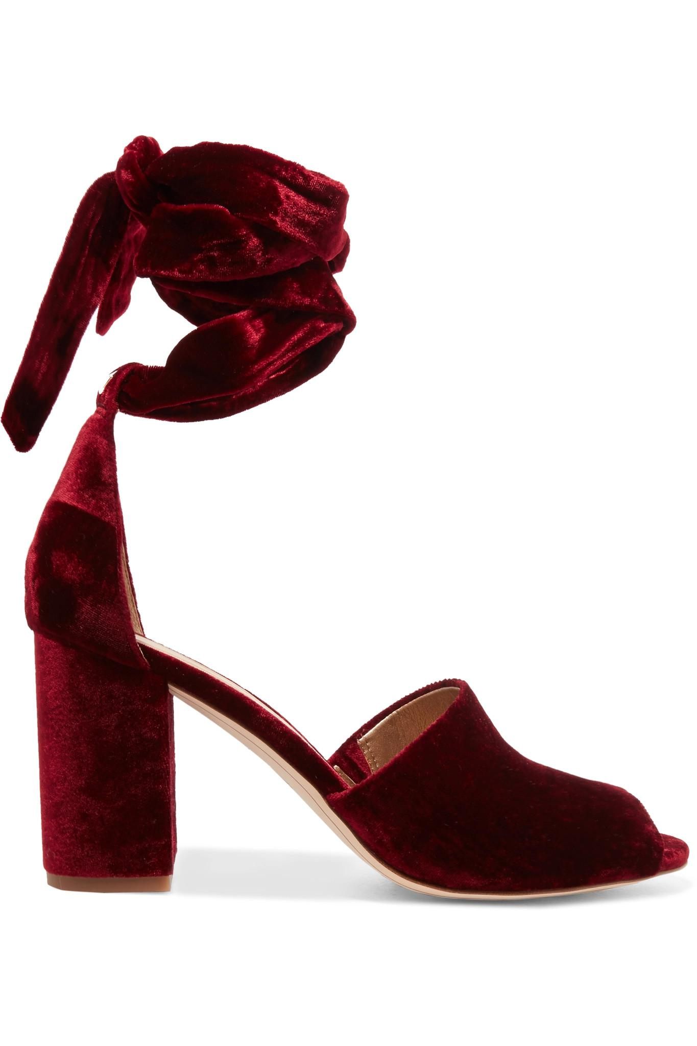 10d6d9eba710a Sam Edelman Odele Velvet Sandals in Red - Lyst