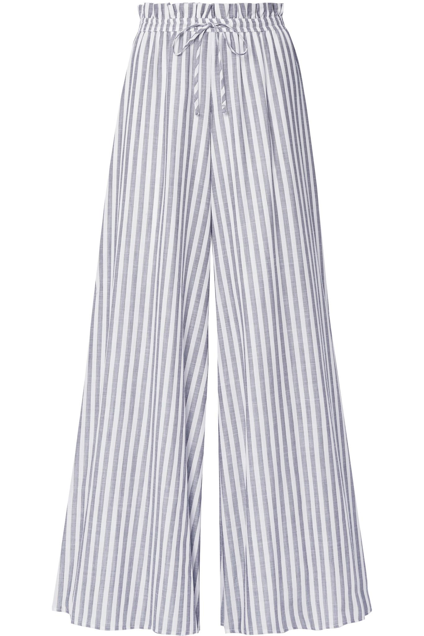 Pantalons De Coton Voilages À Jambes Larges Rayures - Constas Caroline Gris 2JcvNBpA