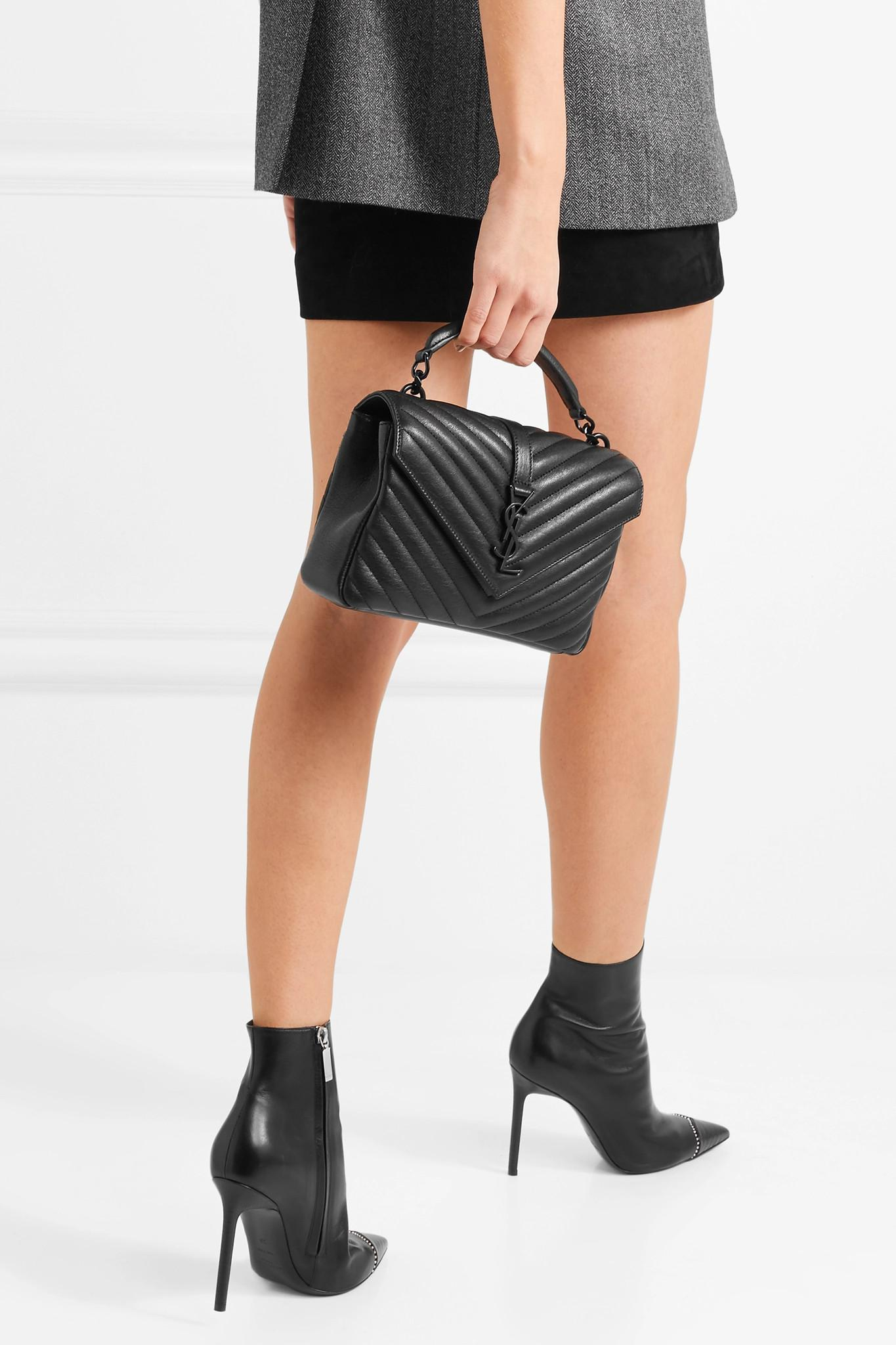 a62c3420e1 Lyst - Saint Laurent College Medium Quilted Leather Shoulder Bag in ...