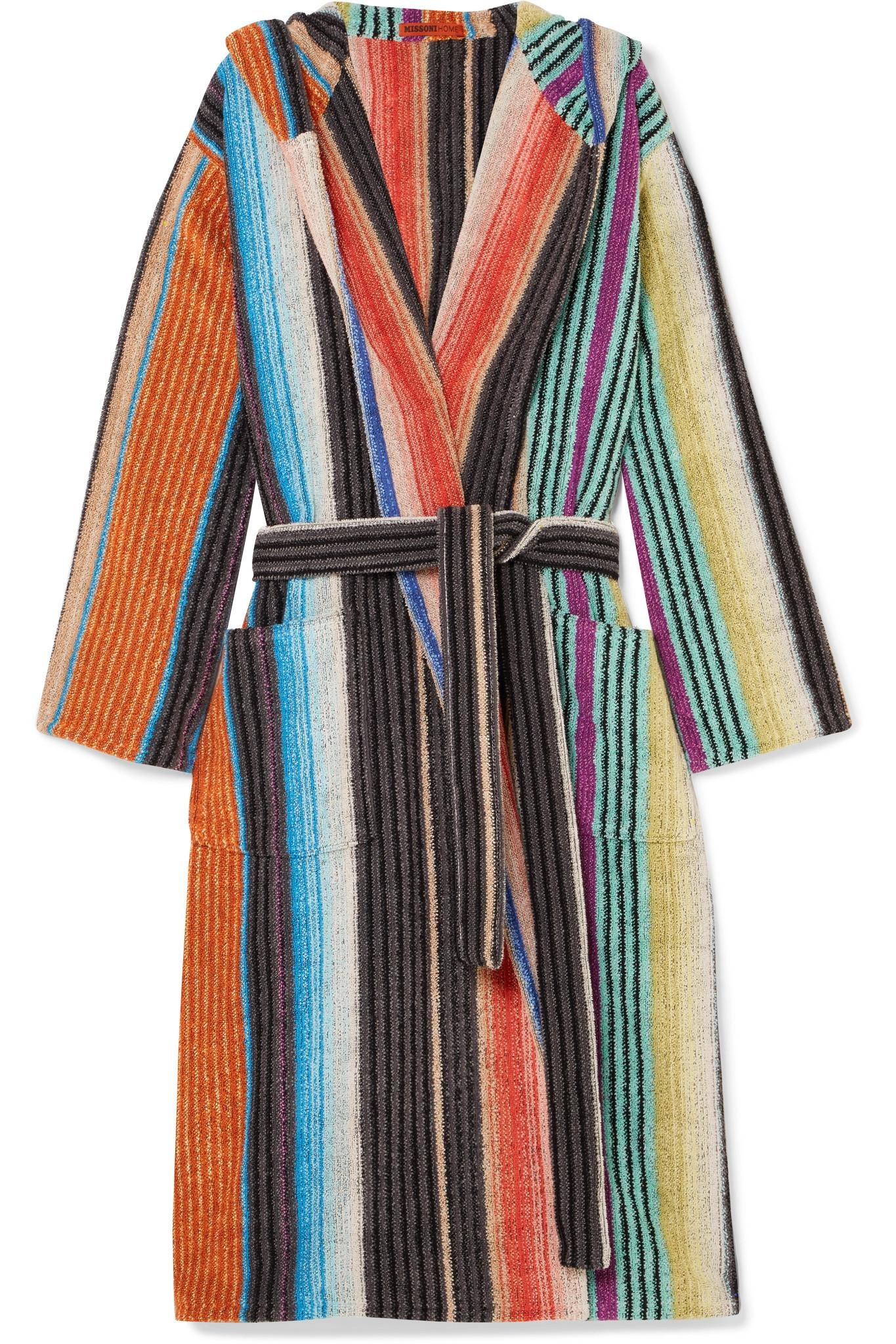 Missoni Hooded Striped Cotton-terry Robe in Black - Lyst f7ede452e