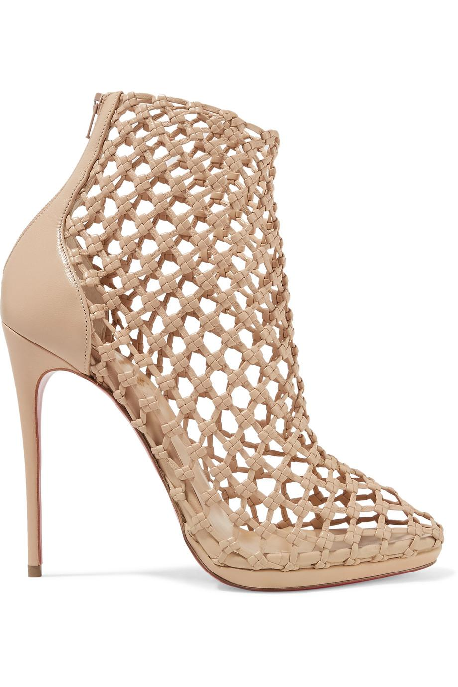 Porligat 120 beige leather booties Christian Louboutin z2epZM9vrs