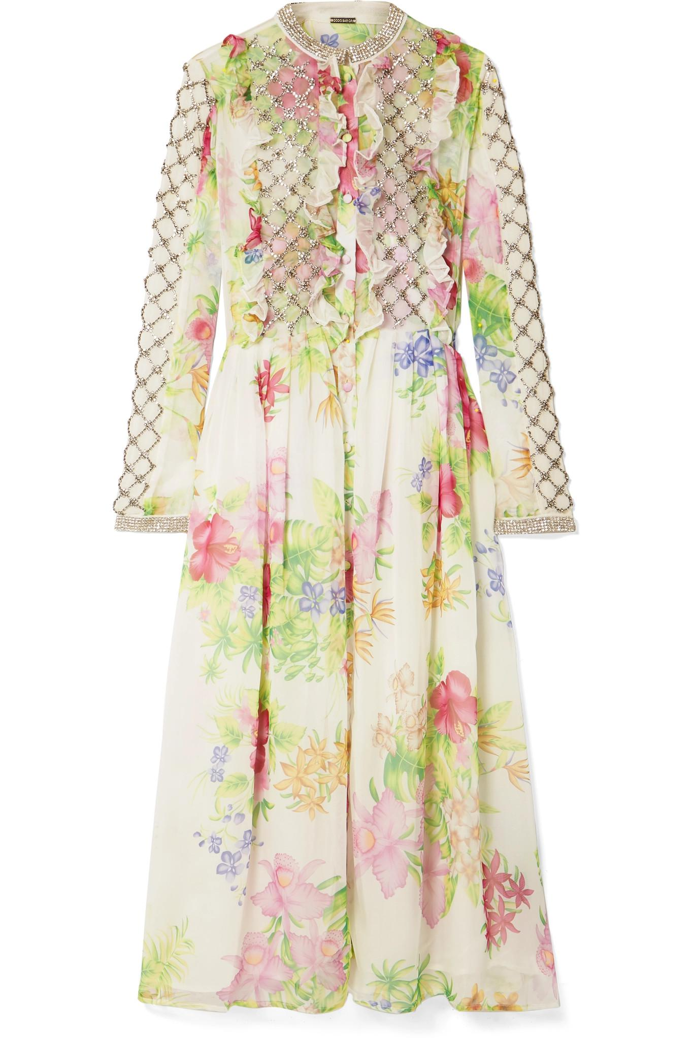 Crystal-embellished Floral-print Chiffon Midi Dress - White Dodo Bar Or Find Great Cheap Online New Arrival Fashion Geniue Stockist Cheap Price Cheap Authentic Outlet 9tW0eT