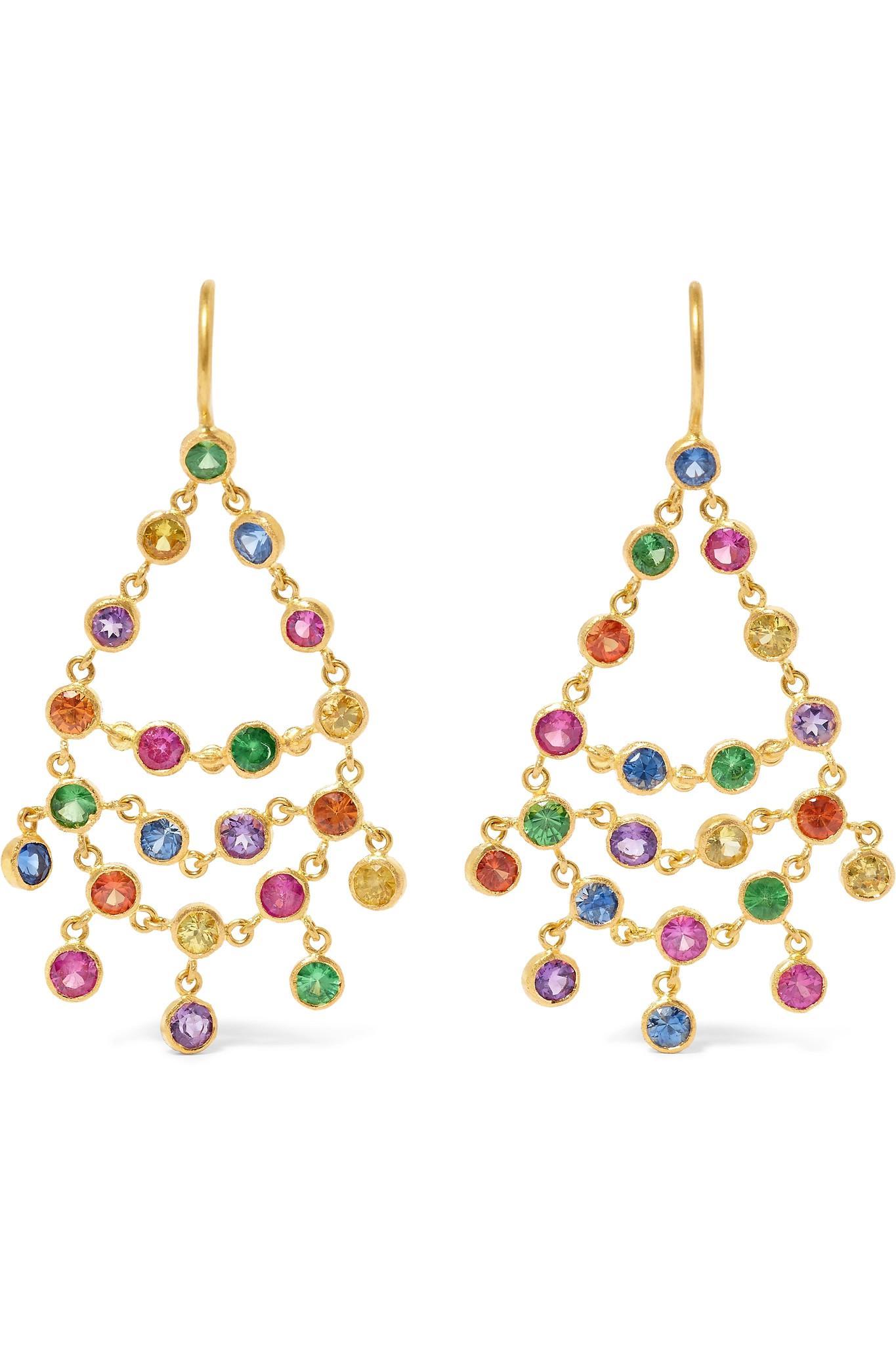 Marie-Hélène de Taillac 22-karat Gold Multi-stone Earrings E9UHGg