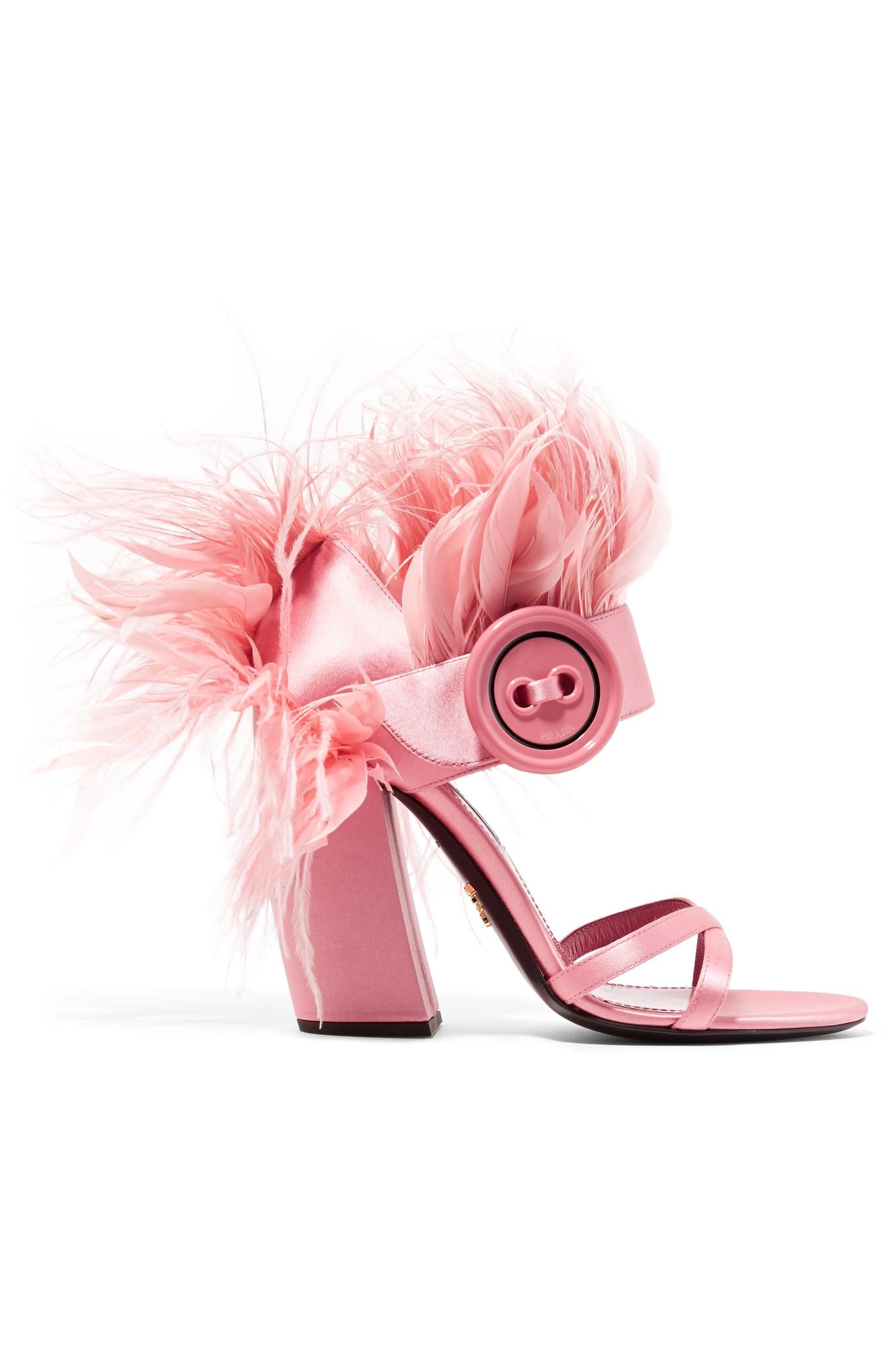1fca8fe389d Lyst - Prada Feather-trimmed Satin Sandals in Pink
