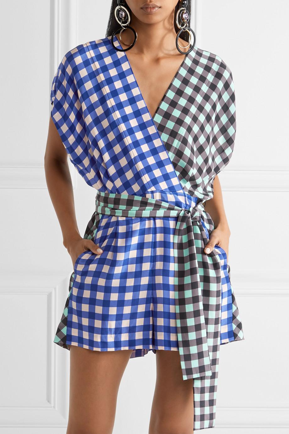 aab80c4604 Lyst - Diane von Furstenberg Short Sleeve Wrap Romper in Blue