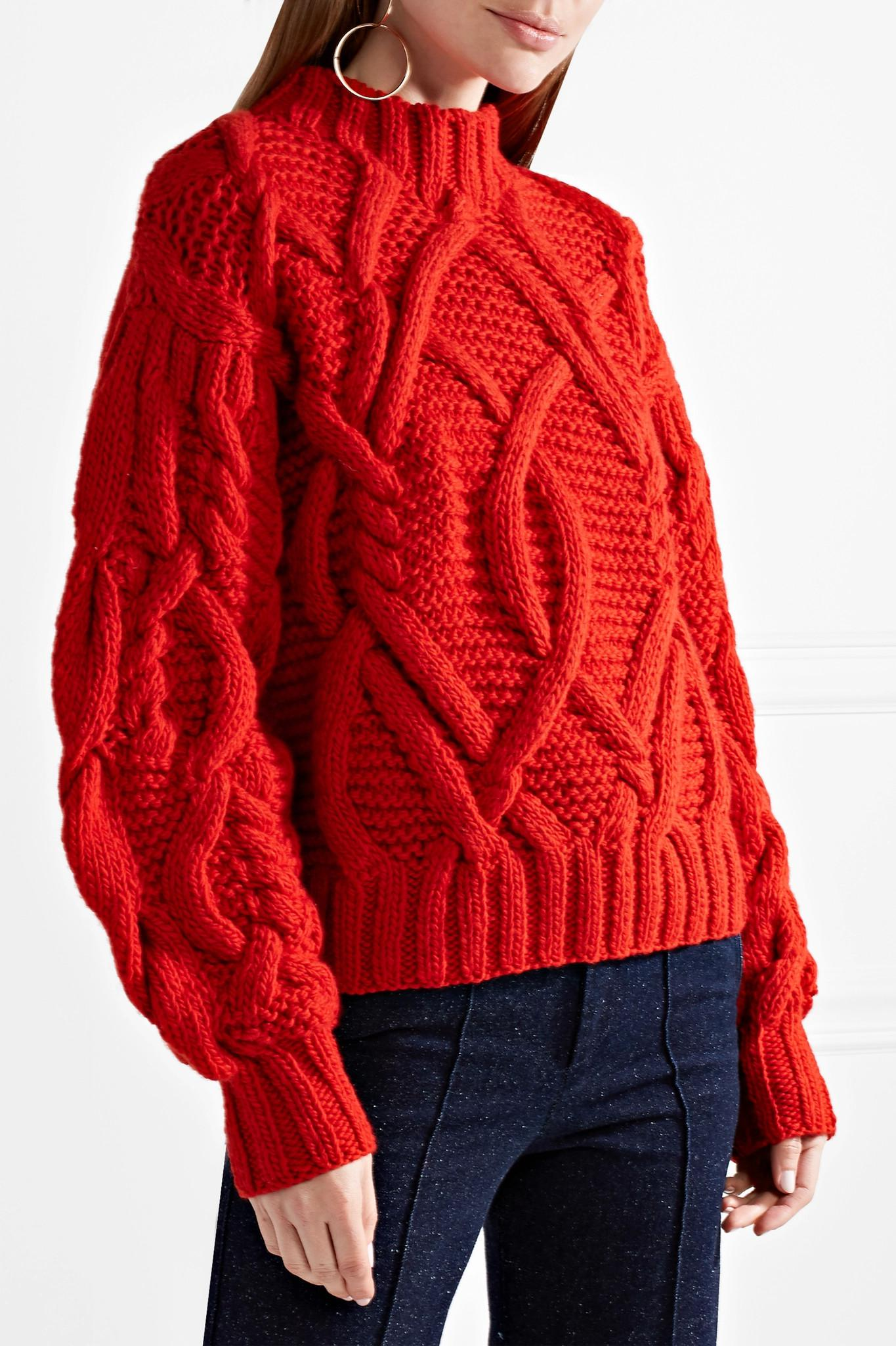 1c262c6150cc Lyst - Ulla Johnson Pilar Cable Handknits Pullover in Red