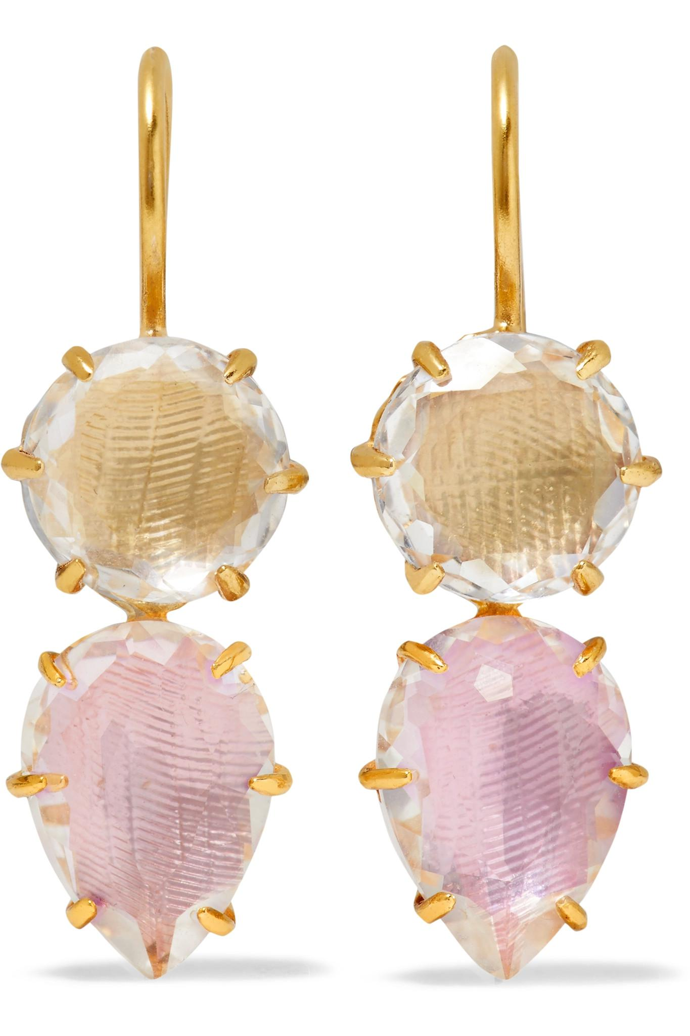 Larkspur & Hawk 18-karat Gold-dipped Quartz Earrings WCJuAJ
