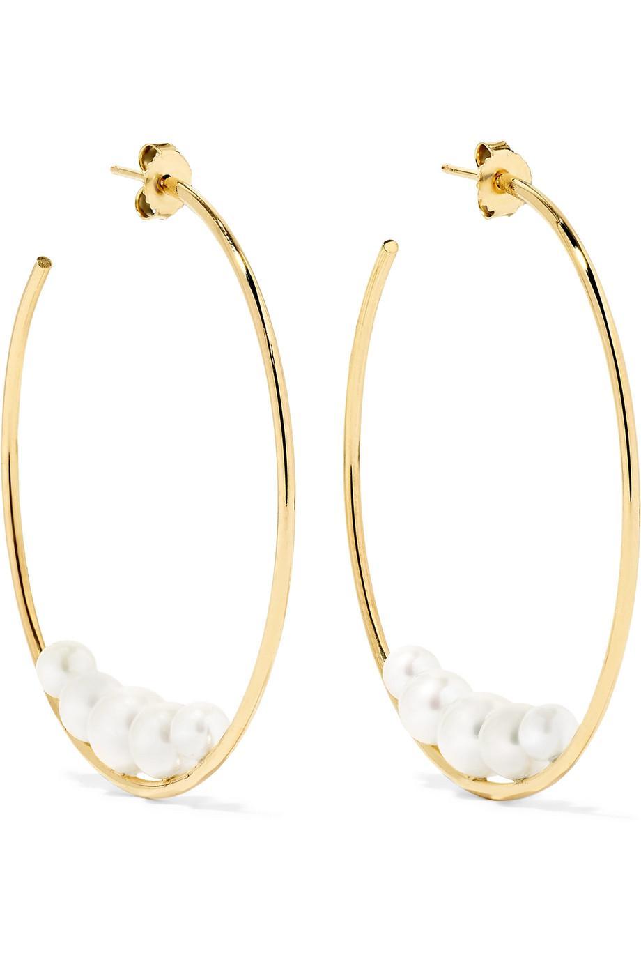 Mizuki 14-karat Gold Pearl Hoop Earrings OsdP9l