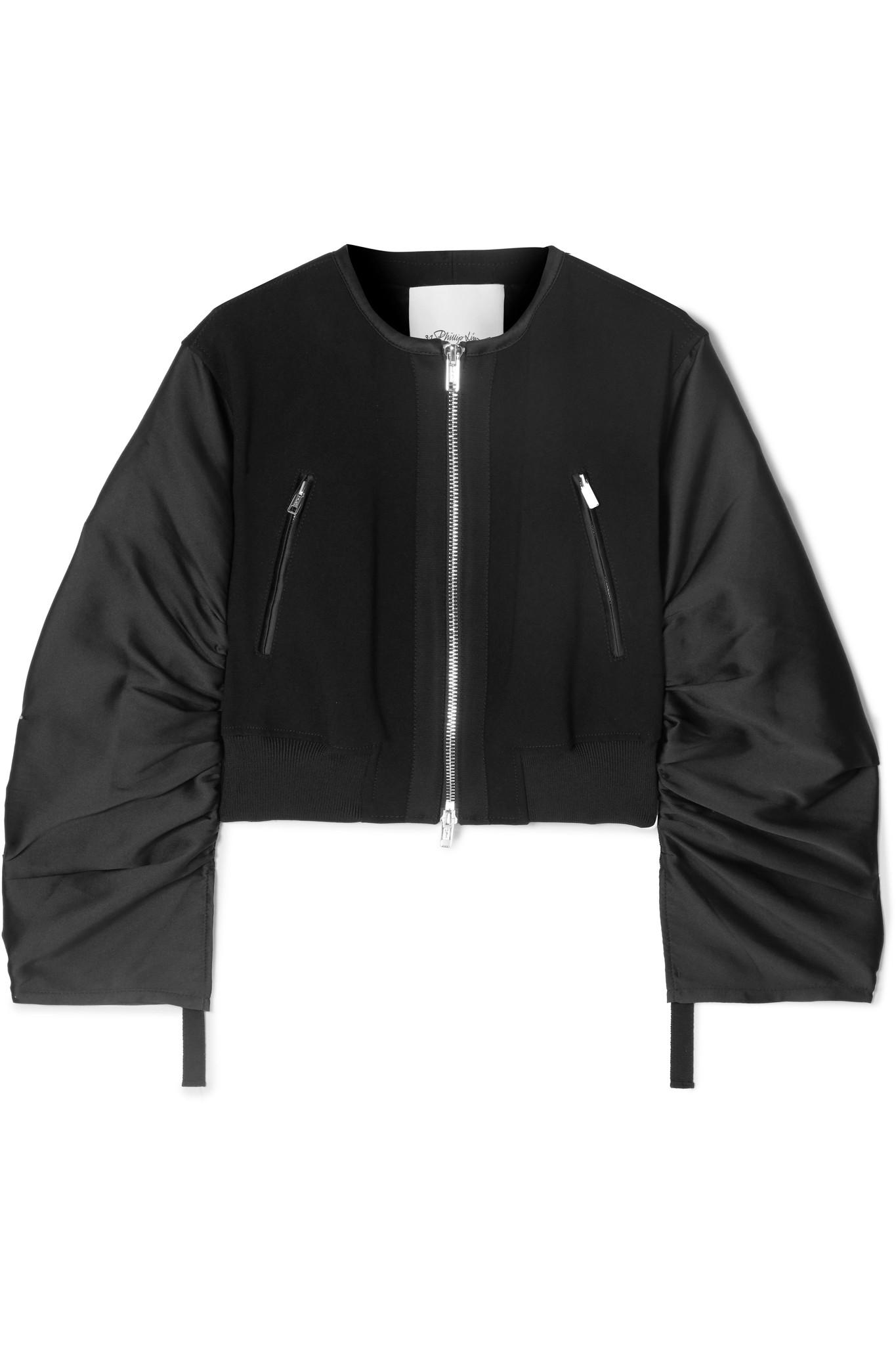 a9e9a772f3 Lyst - 3.1 Phillip Lim Shirred Cropped Crepe And Taffeta Bomber ...