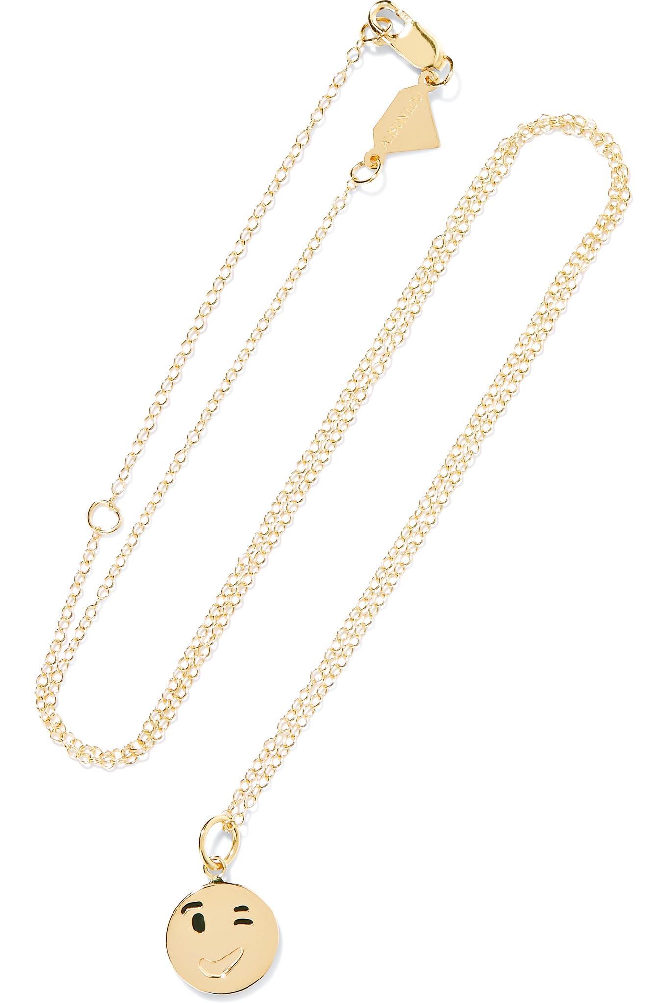 Alison Lou Small Tongue Out Enameled 14-karat Gold Necklace X1rQuGO