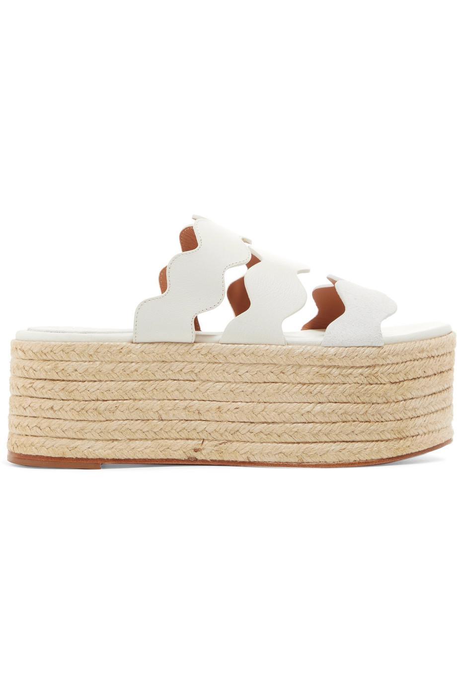 Lauren Scalloped Suede And Textured-leather Espadrille Platform Slides - White Chlo EdR6HWruzB
