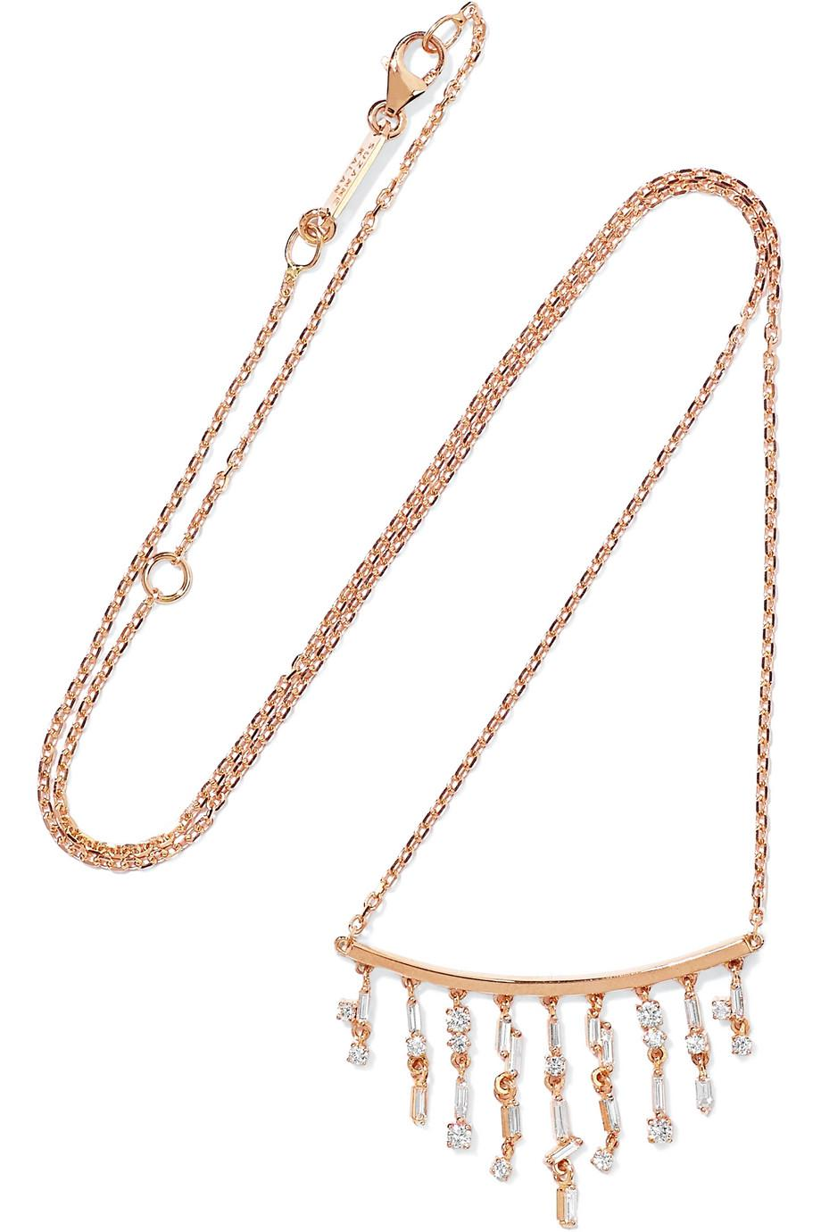 Suzanne Kalan 18-karat Rose Gold Diamond Necklace dAbRV