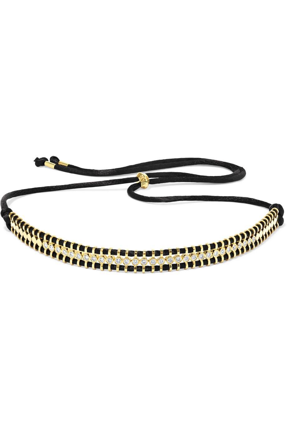 Jemma Wynne 18-karat Gold, Diamond And Cord Necklace