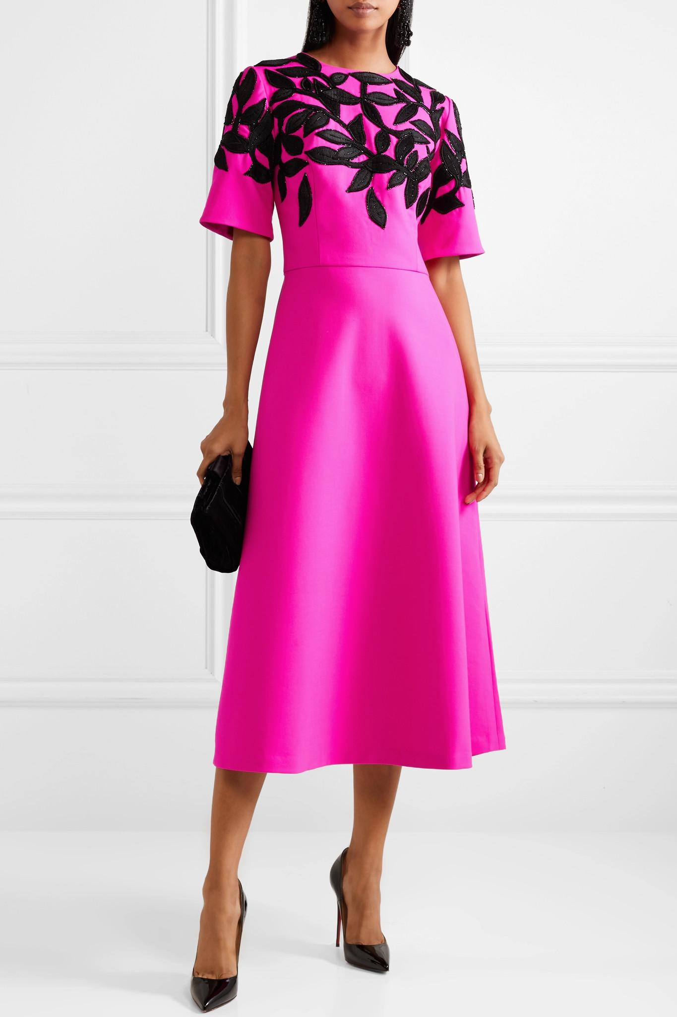 Bead-embellished Embroidered Wool-blend Midi Dress – Fuchsia