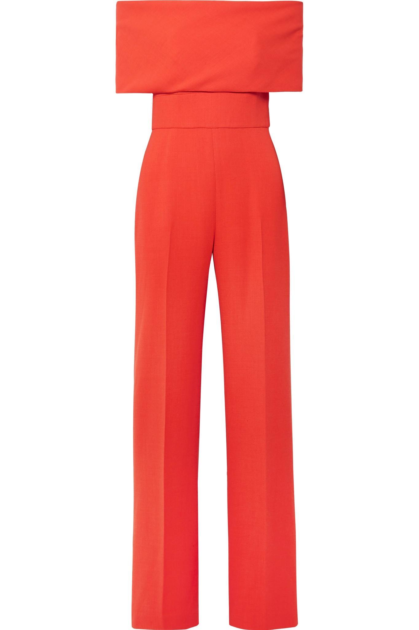 d2434097673 Lyst - Lela Rose Off-the-shoulder Wool-blend Cady Jumpsuit in Red