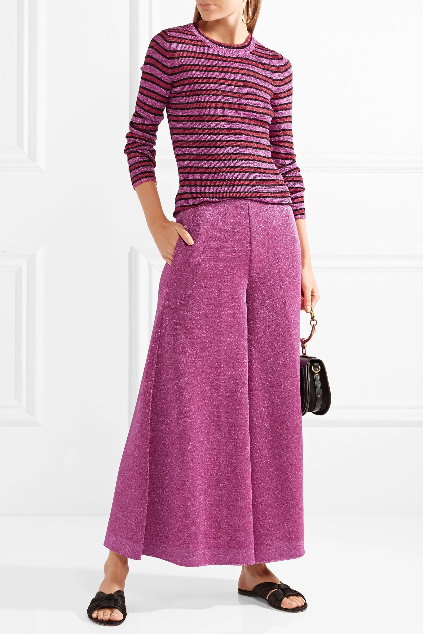 En Coloris Missoni Rose Lyst Large Raccourci Lurex Pantalon 8nwOkX0P