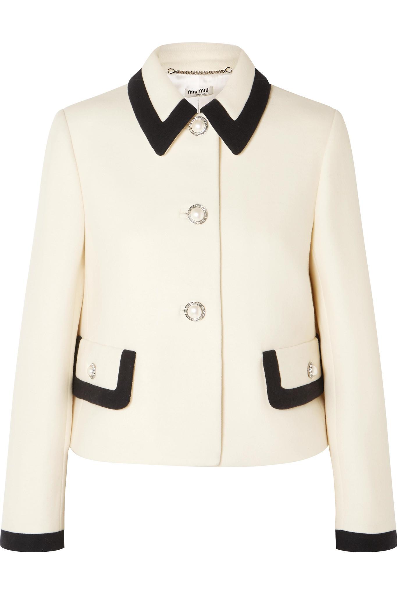 64883649841 Lyst - Miu Miu Faux Pearl-embellished Wool-crepe Jacket in White