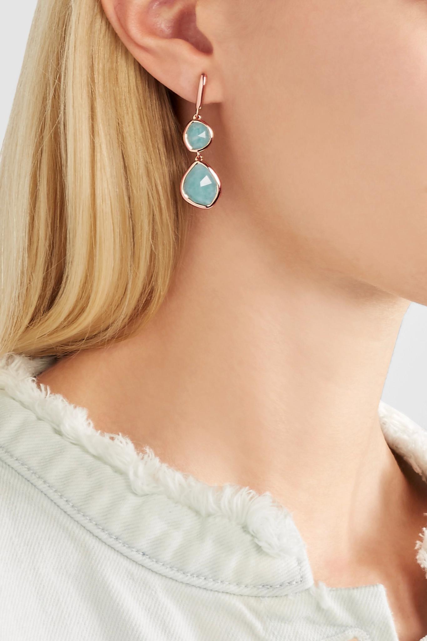 Rose Gold Siren Wire Earrings Amazonite Monica Vinader jjBQQ0Ies8