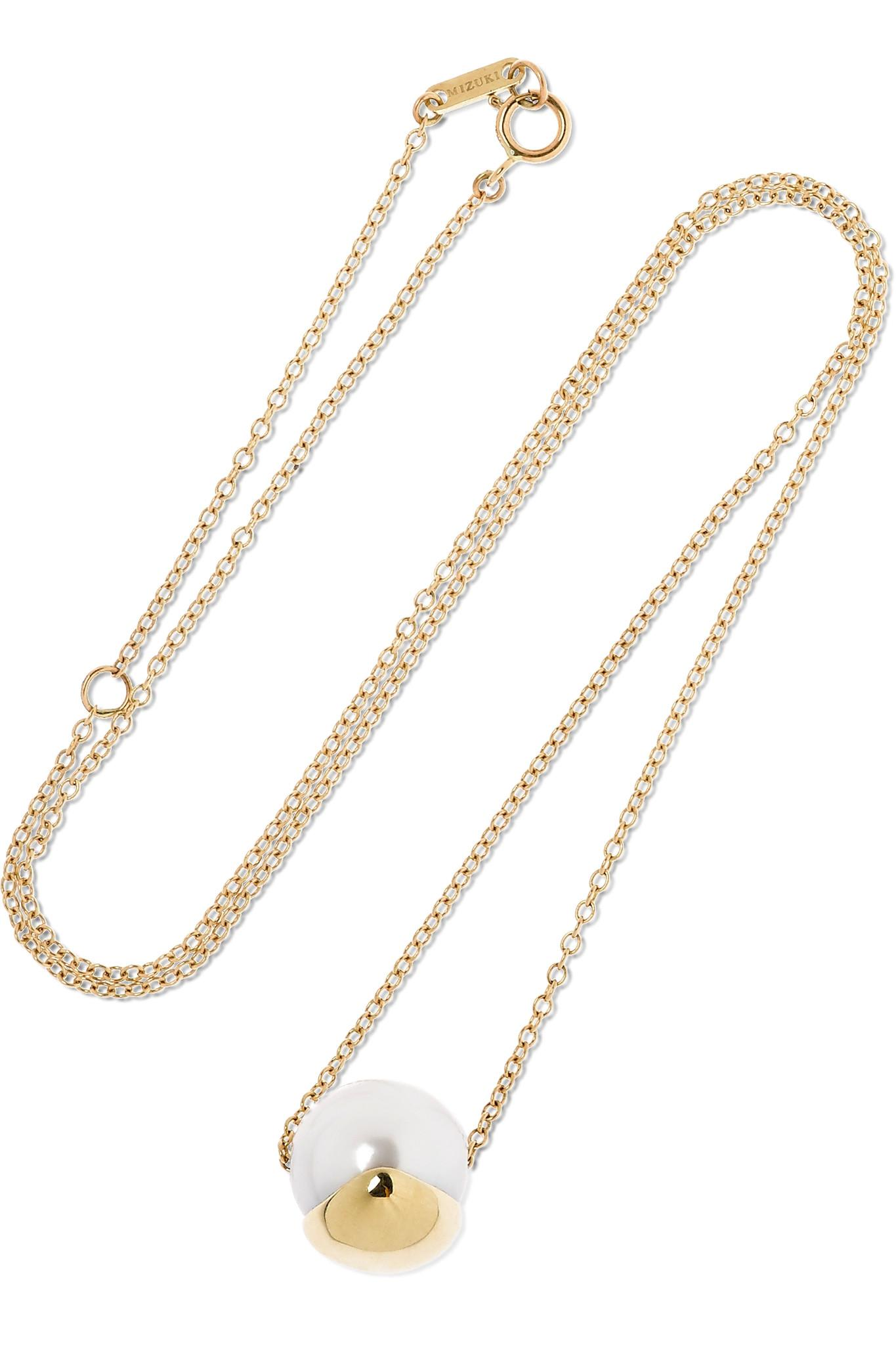 Mizuki 14-karat Gold Pearl Necklace b1lE1W4c
