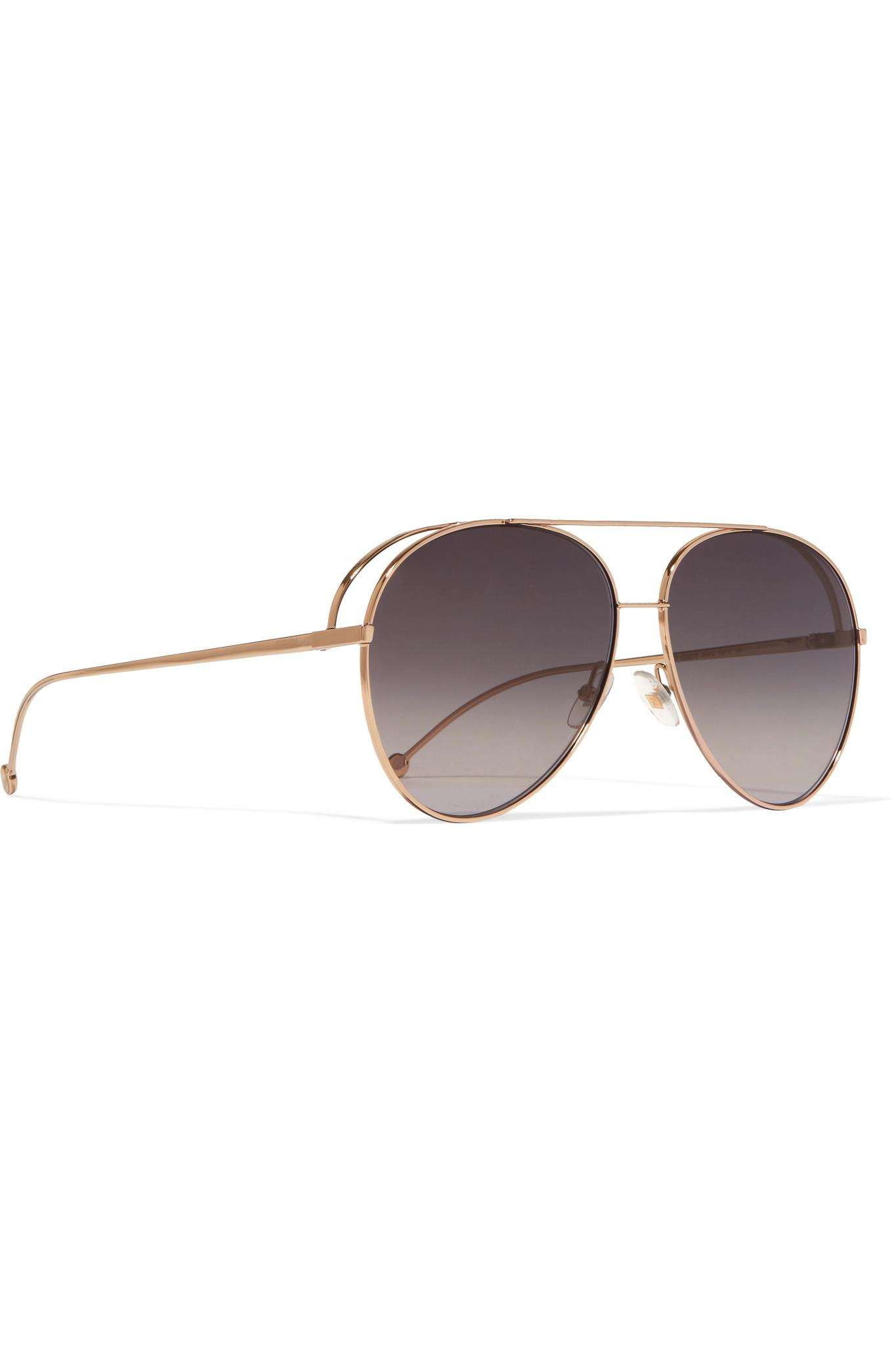 bcaec43312 Fendi Aviator-style Gold-tone Sunglasses Gold One Size in Metallic ...
