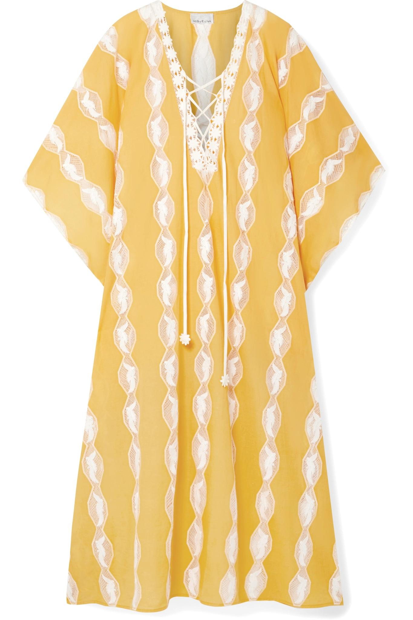 ea527979a691c1 Lyst - Miguelina Blair Crochet-trimmed Cotton-voile Kaftan in Yellow