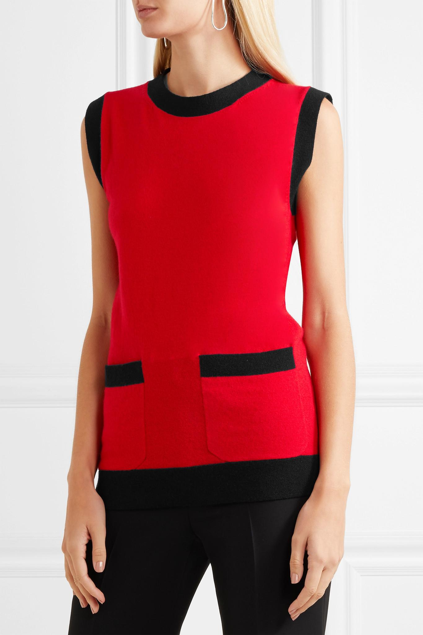 8611f6c47752e6 Gucci - Red Two-tone Wool And Cashmere-blend Top - Lyst. View fullscreen