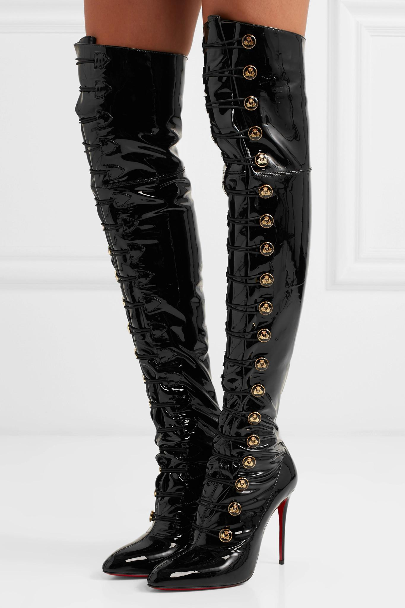 14fa869c0f27 Christian Louboutin - Black Frenchissima Alta 100 Patent-leather Over-the-knee  Boots. View fullscreen